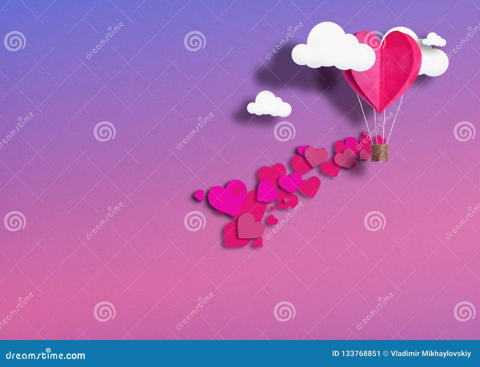 Illustration för dag för valentin` s Bosatt hjärta formade ballonger som bor korallflugan bland molnen och berömförälskelsen Begr