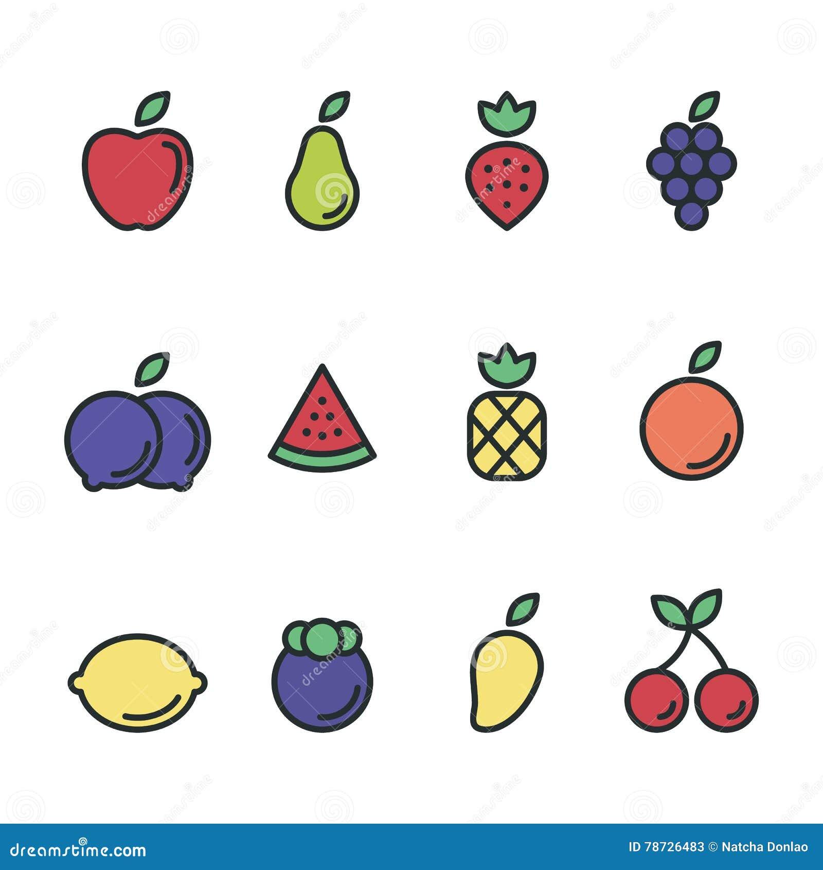 Illustration för design för lägenhet för fruktsymbolsuppsättning