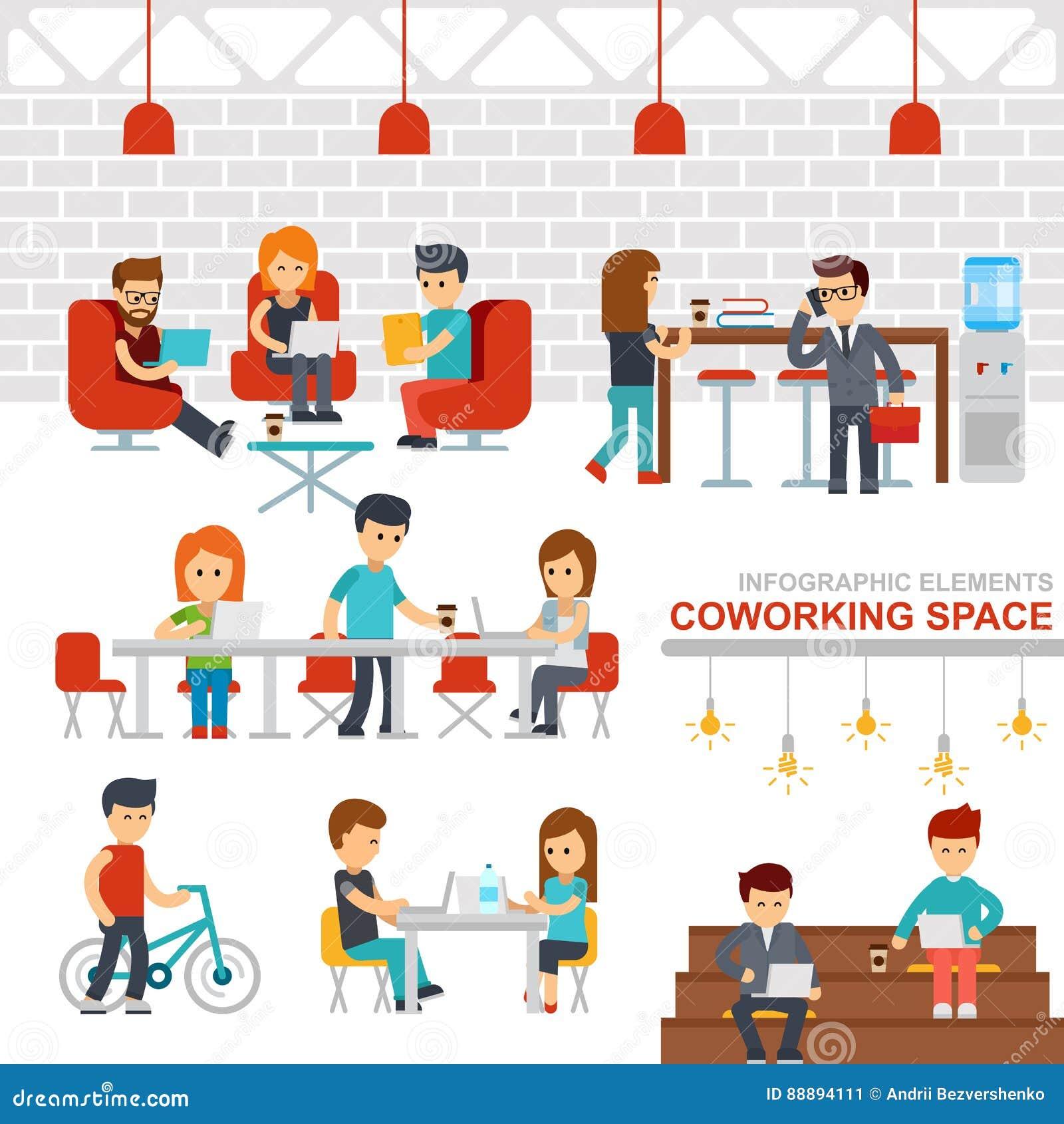 Illustration för design för lägenhet för vektor för beståndsdelar för Coworking utrymme infographic