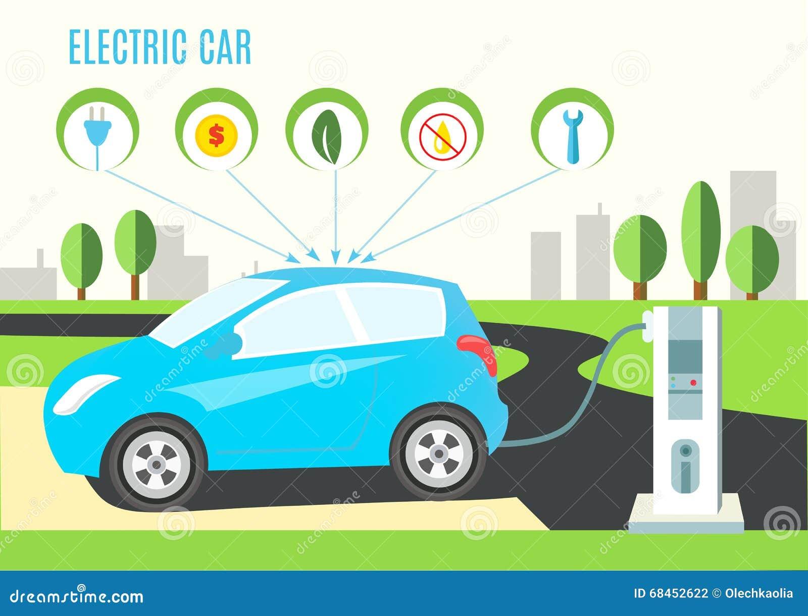 Illustration för hybrid- bil för elkraft blå laddande på väg- och stadslandskapet Symboler med proppen, pengar, eco, olja och ski