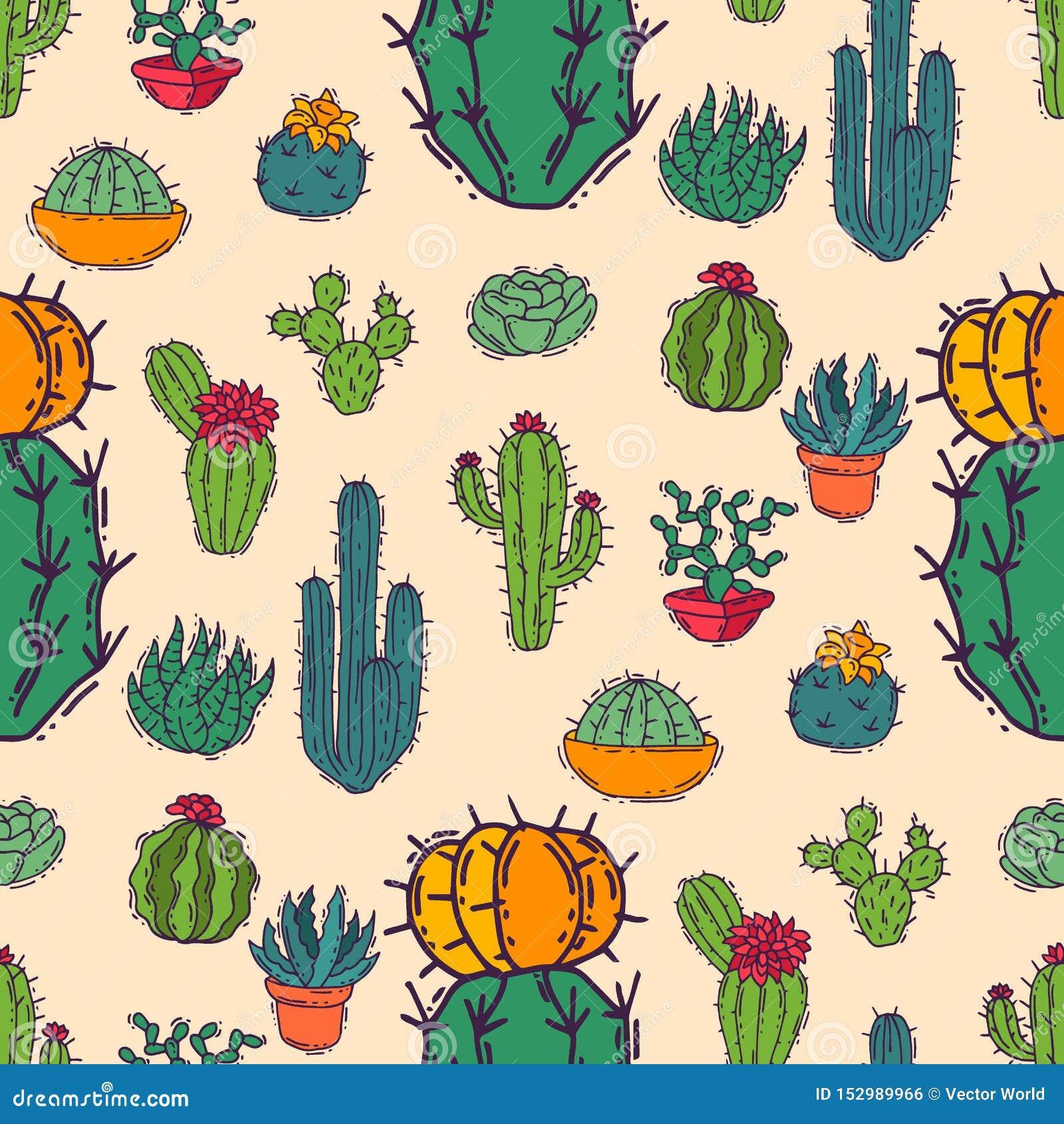 Illustration för kaktushemnatur av det cactaceous trädet för grön växt med sömlös modellbakgrund för blomma