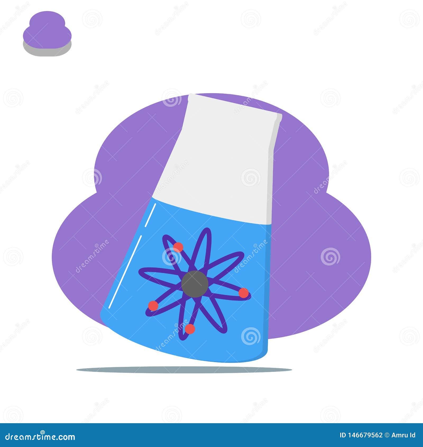 Illustration för kemi för för Erlenmeyer labbkemikalie och atom - vektor