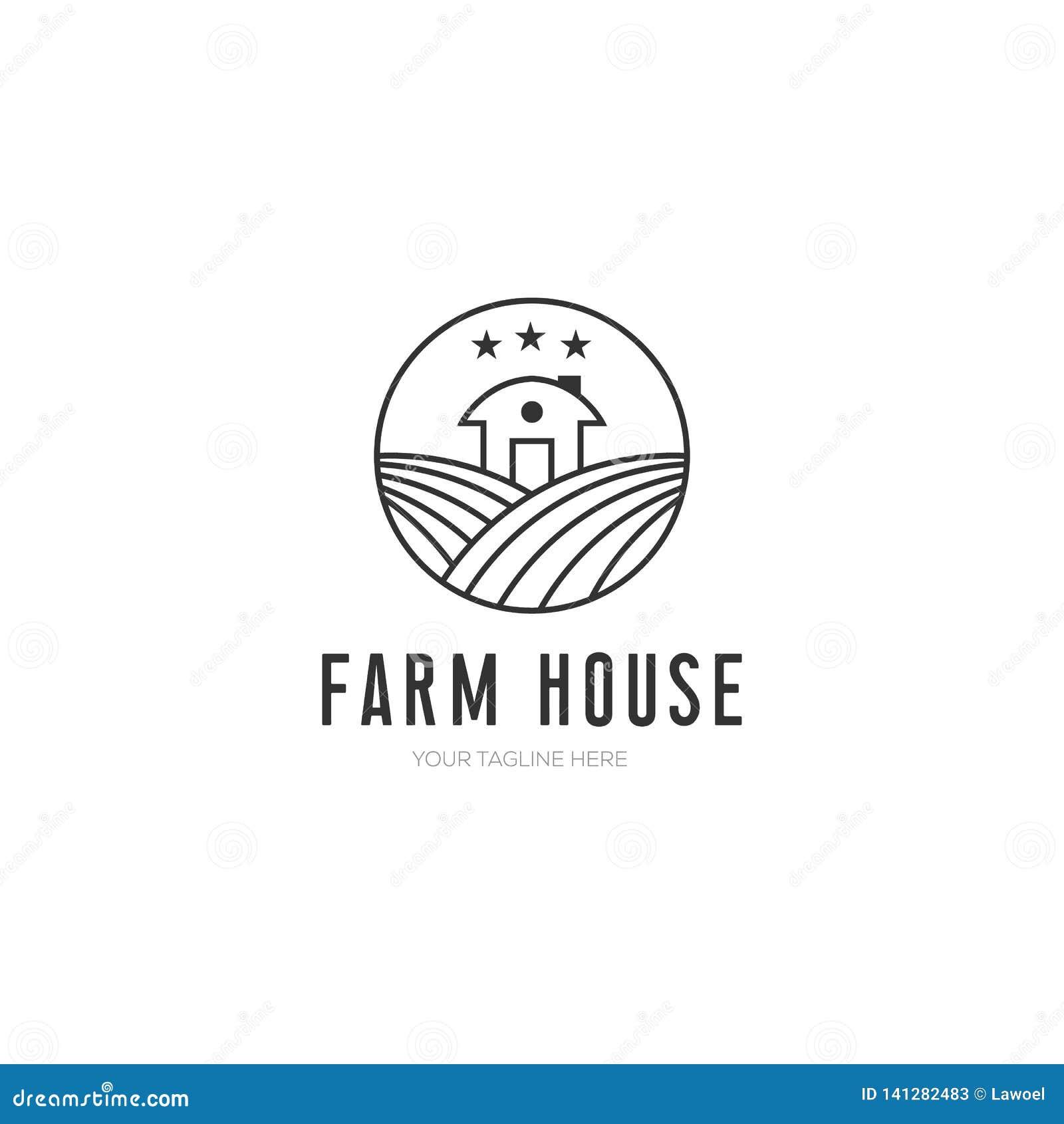 Illustration för lantgårdhusvektor, minimalist design med linjen konststil