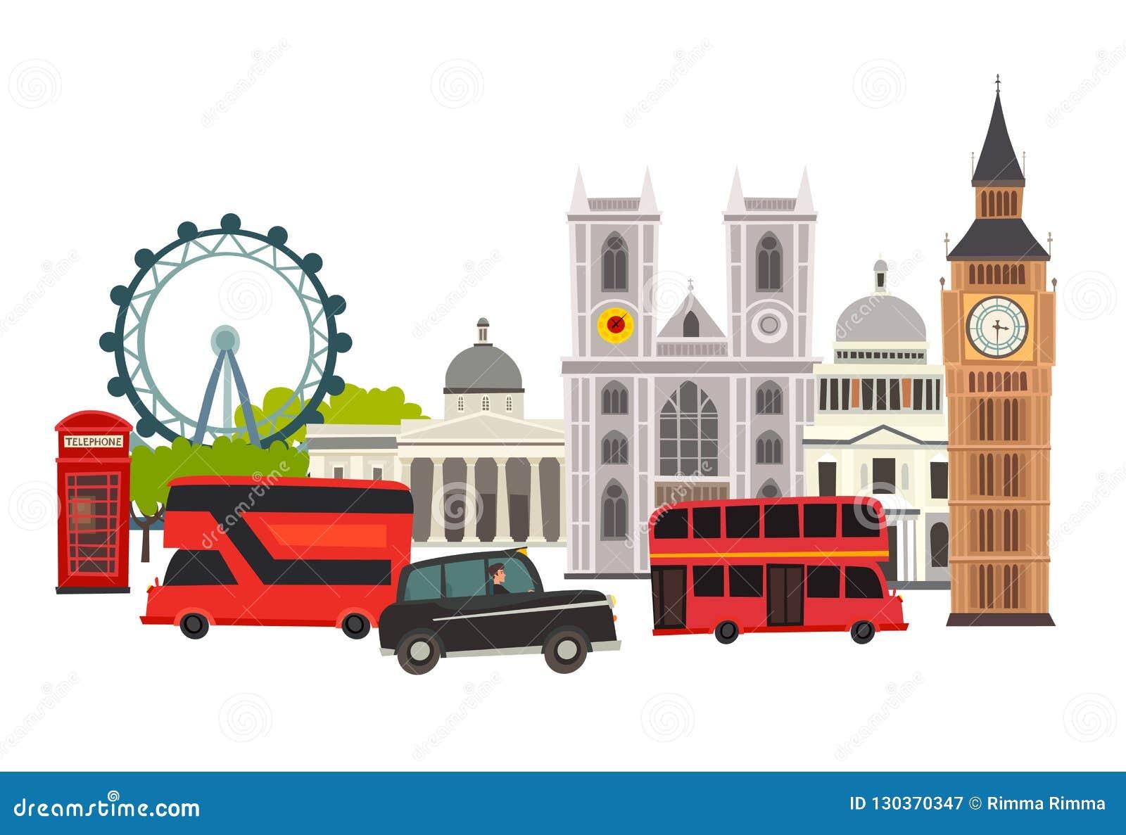 Illustration för London horisontvektor Arkitektur och transport