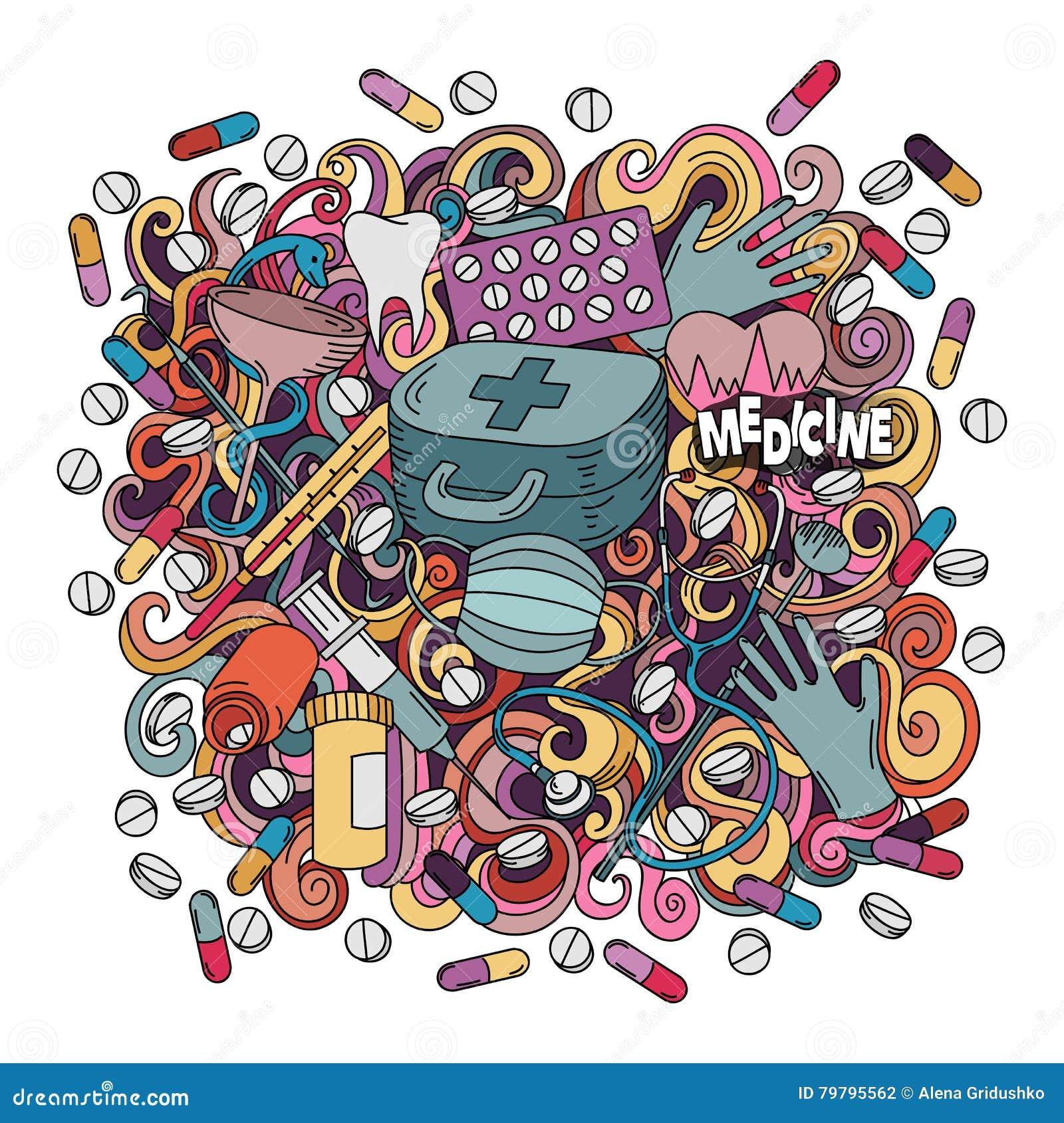 Illustration för medicin för klotter för tecknad film gullig hand dragen