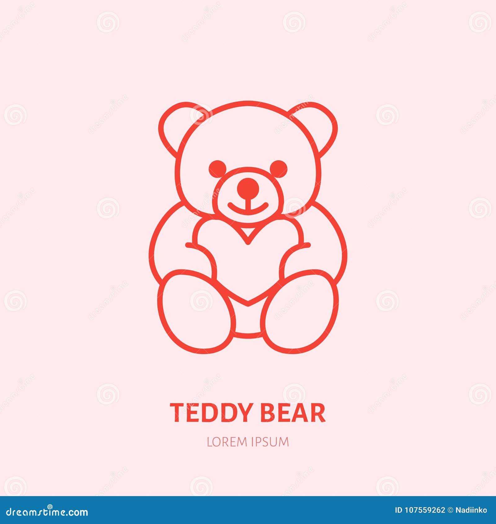 Illustration för nallebjörn Plyschlägenhetlinje symbol, logo för leksaklager Tecken för valentindaggåva