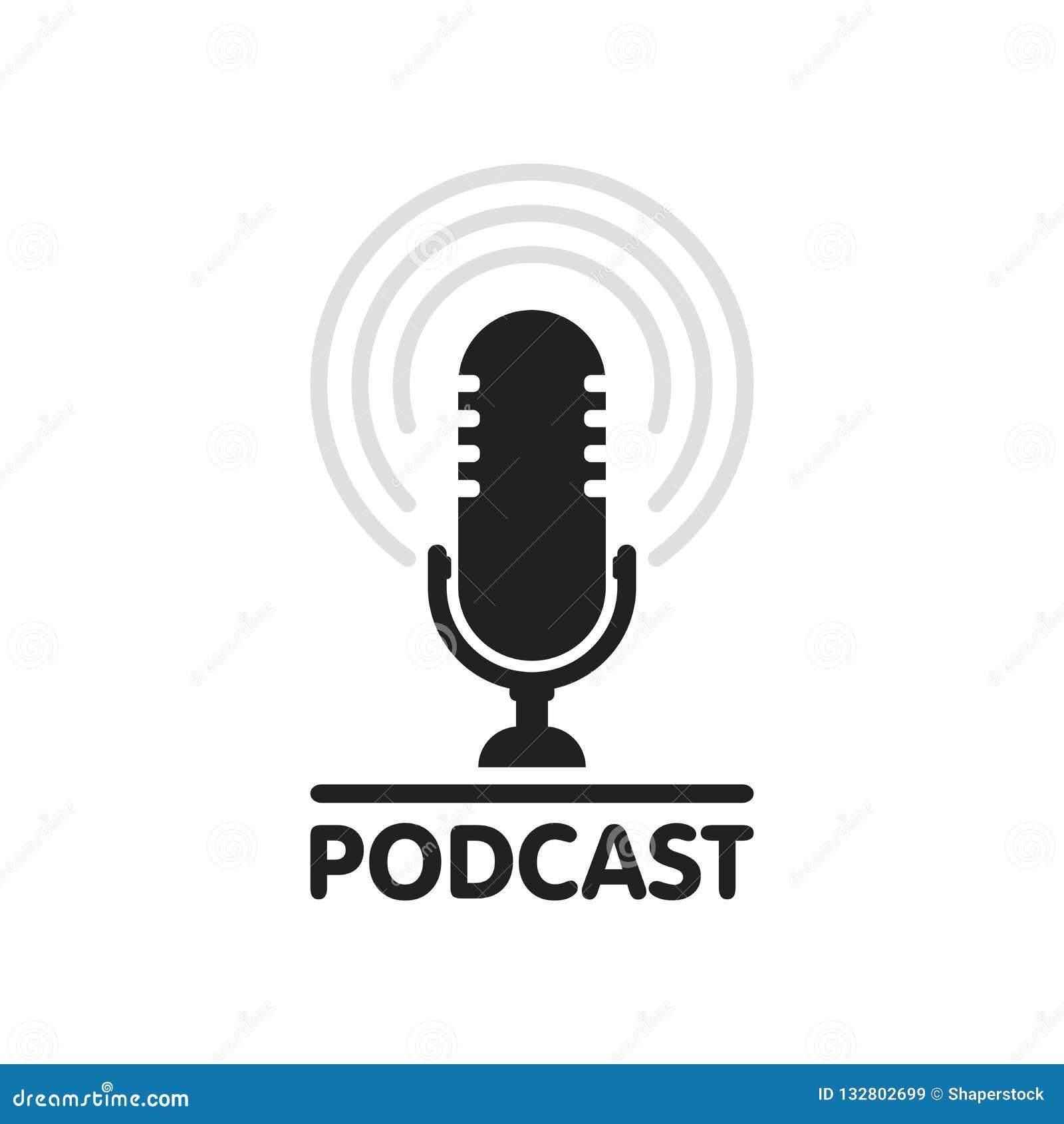 Illustration för Podcastradiosymbol Studiotabellmikrofon med för Webcast för TV-sändningtextpodcast logo för begrepp för rekord l