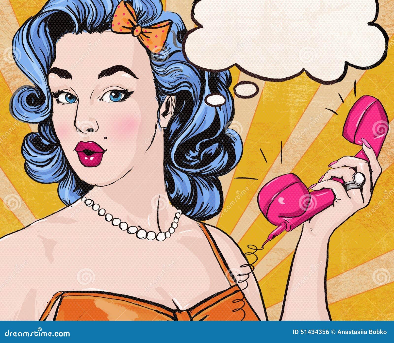 Illustration för popkonst av kvinnan med den retro telefonen för anförandebubblamyra