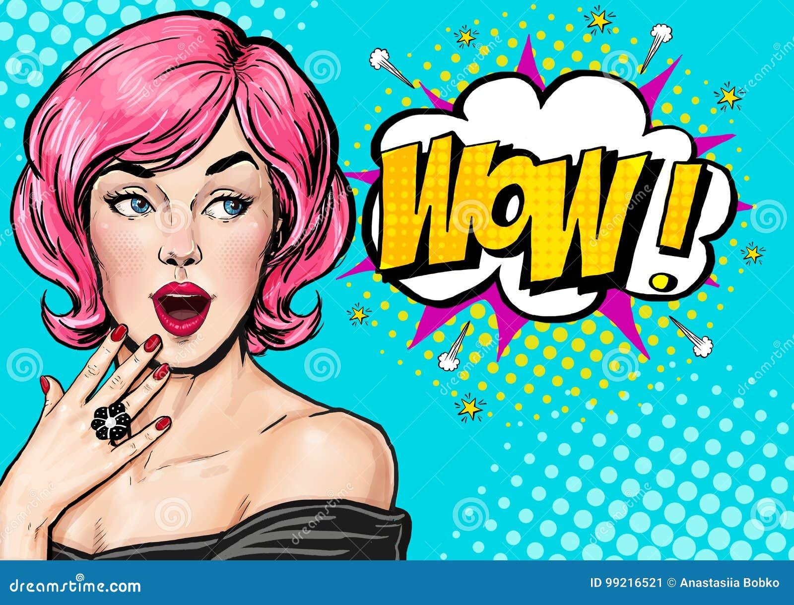 Illustration för popkonst, förvånad flicka Komisk kvinna dundersuccé annonsering av affischen Flicka för popkonst vektor för illu