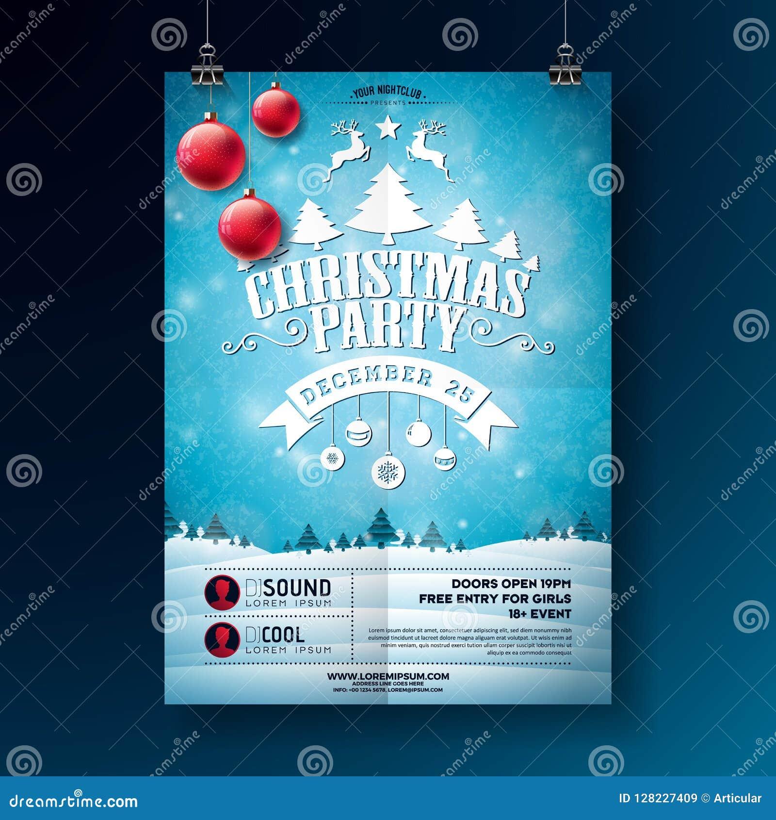 Illustration för reklamblad för julparti med typografibokstäver- och feriebeståndsdelar på vinterlandskapbakgrund vektor