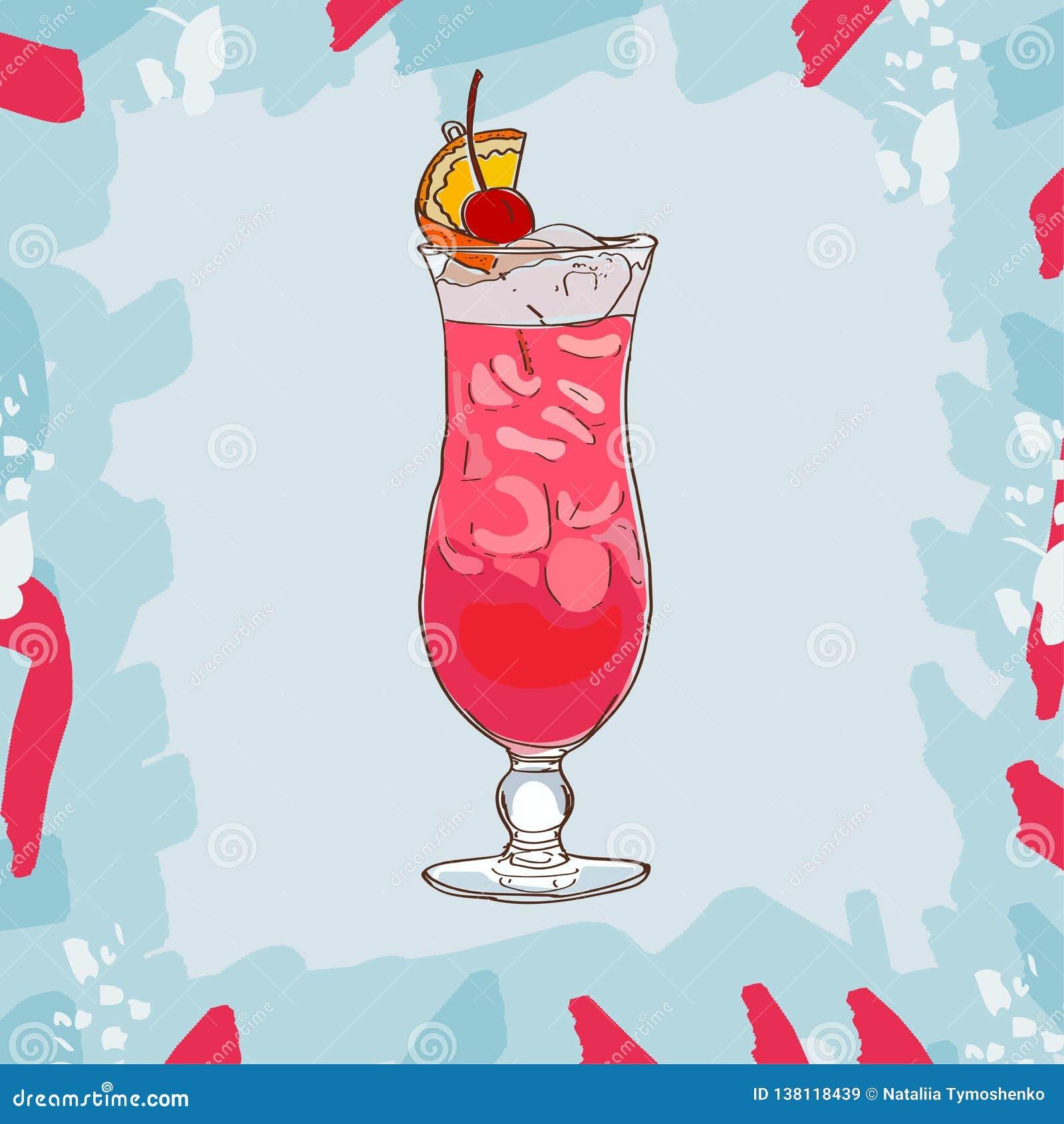Illustration för Singapore remcoctail Utdragen vektor för alkoholiserad klassisk stångdrinkhand Popkonst