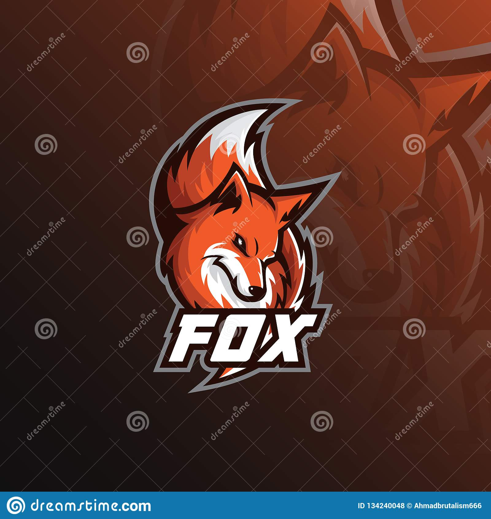 Illustration för sport för rävlogomaskot moderna symboler för logoer och emblem