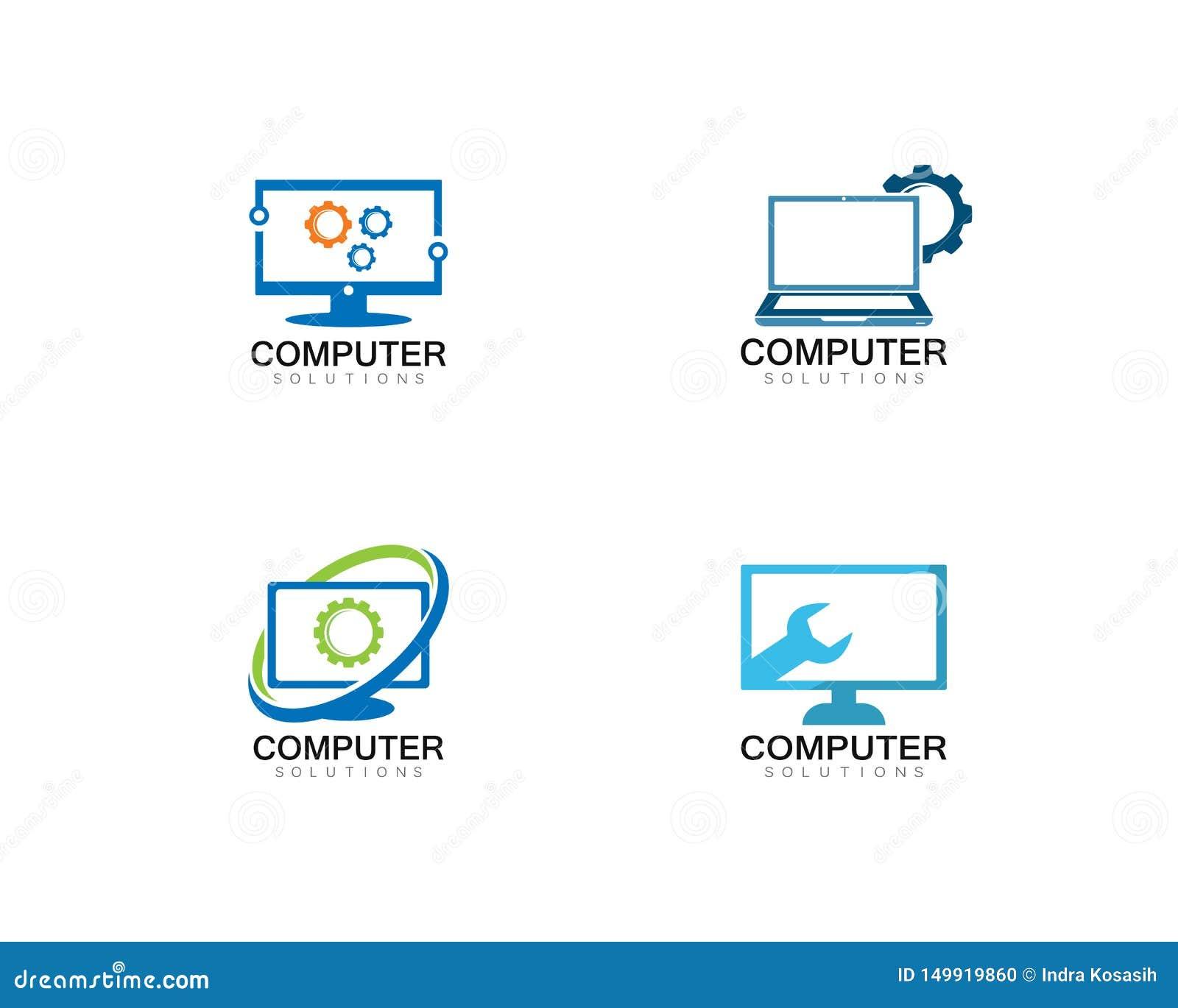 Illustration för symbol för mall för logo för reparation för vektordator och bärbar dator