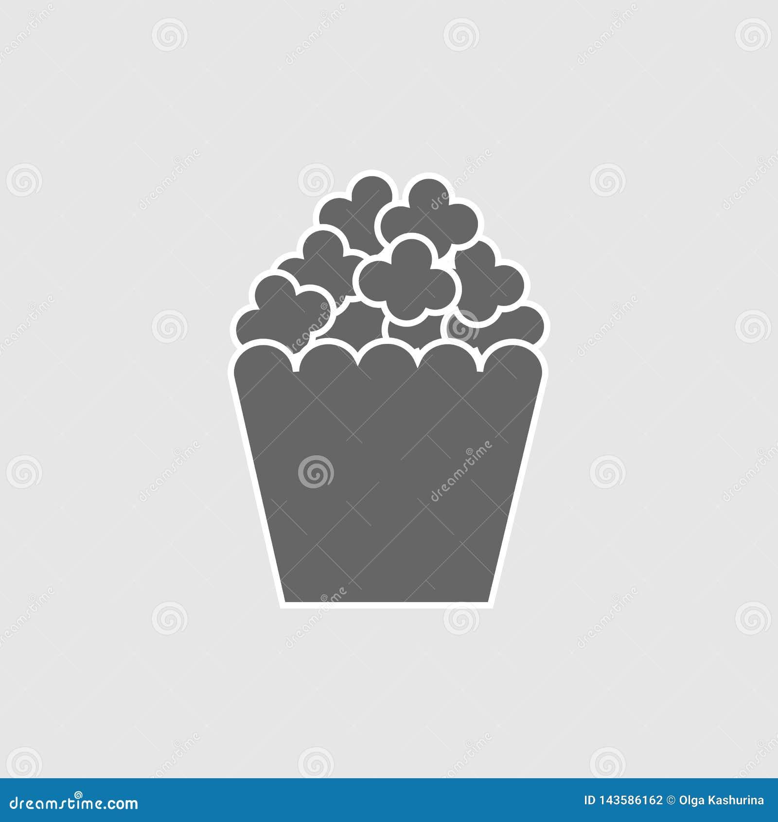 Illustration för symbol för popcornmellanmålvektor