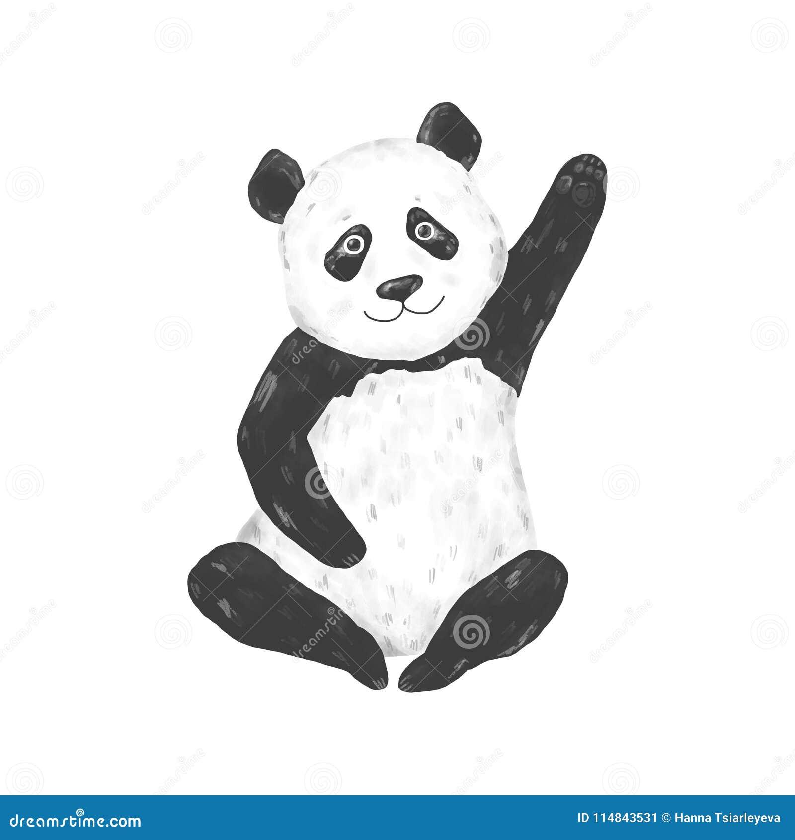 Illustration för teckning för pandagemkonst djur på gulligt djur för vit bakgrund