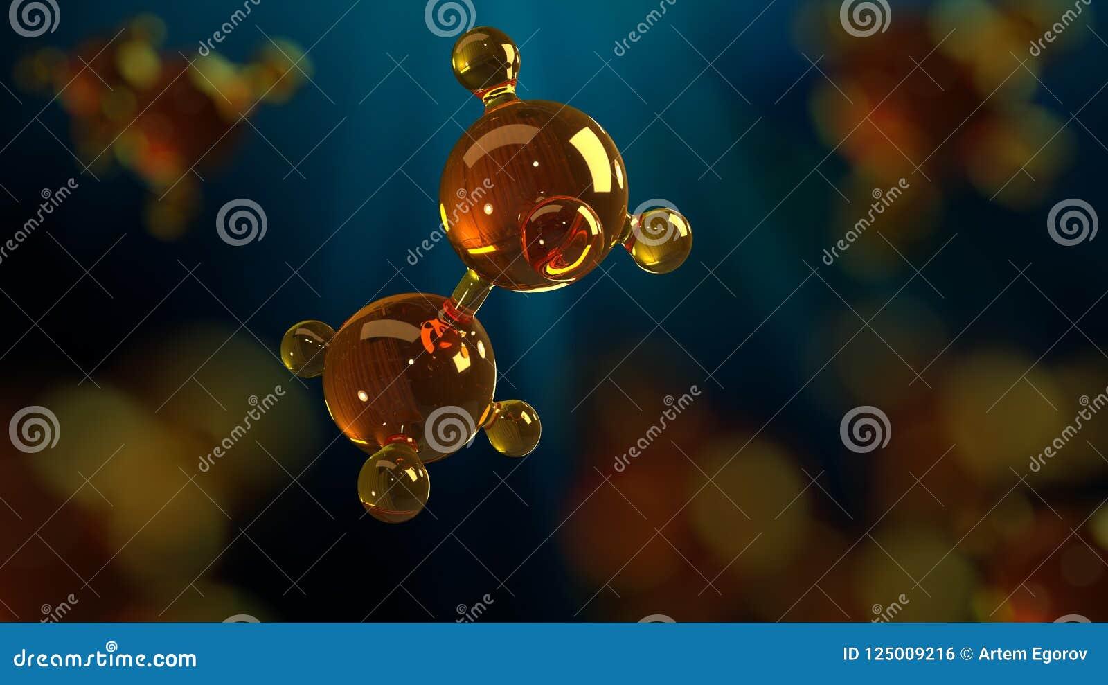 Illustration för tolkning 3d av den glass molekylmodellen Molekyl av olja Begrepp av olja eller gas för strukturmodell motorisk