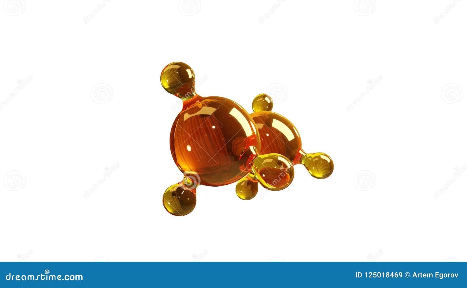 Illustration för tolkning 3d av den glass molekylmodellen Molekyl av olja Begrepp av olja eller gas för strukturmodell som motori