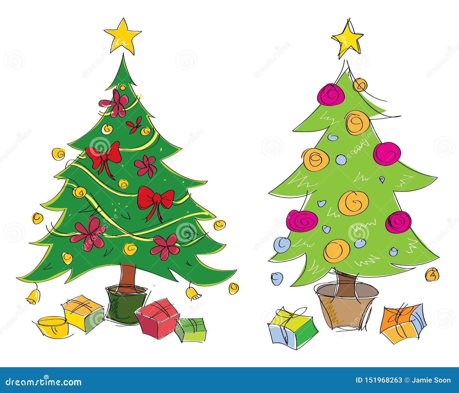 Illustration för träd för jul för färgglad hand för vektor utdragen Passande f?r h?lsningkort