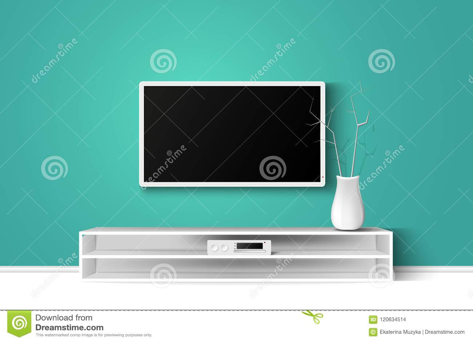 Illustration för vektor 3d av LED TVställningen på en trätabell Design för inre för husvardagsrum modern kopieringsutrymmemall