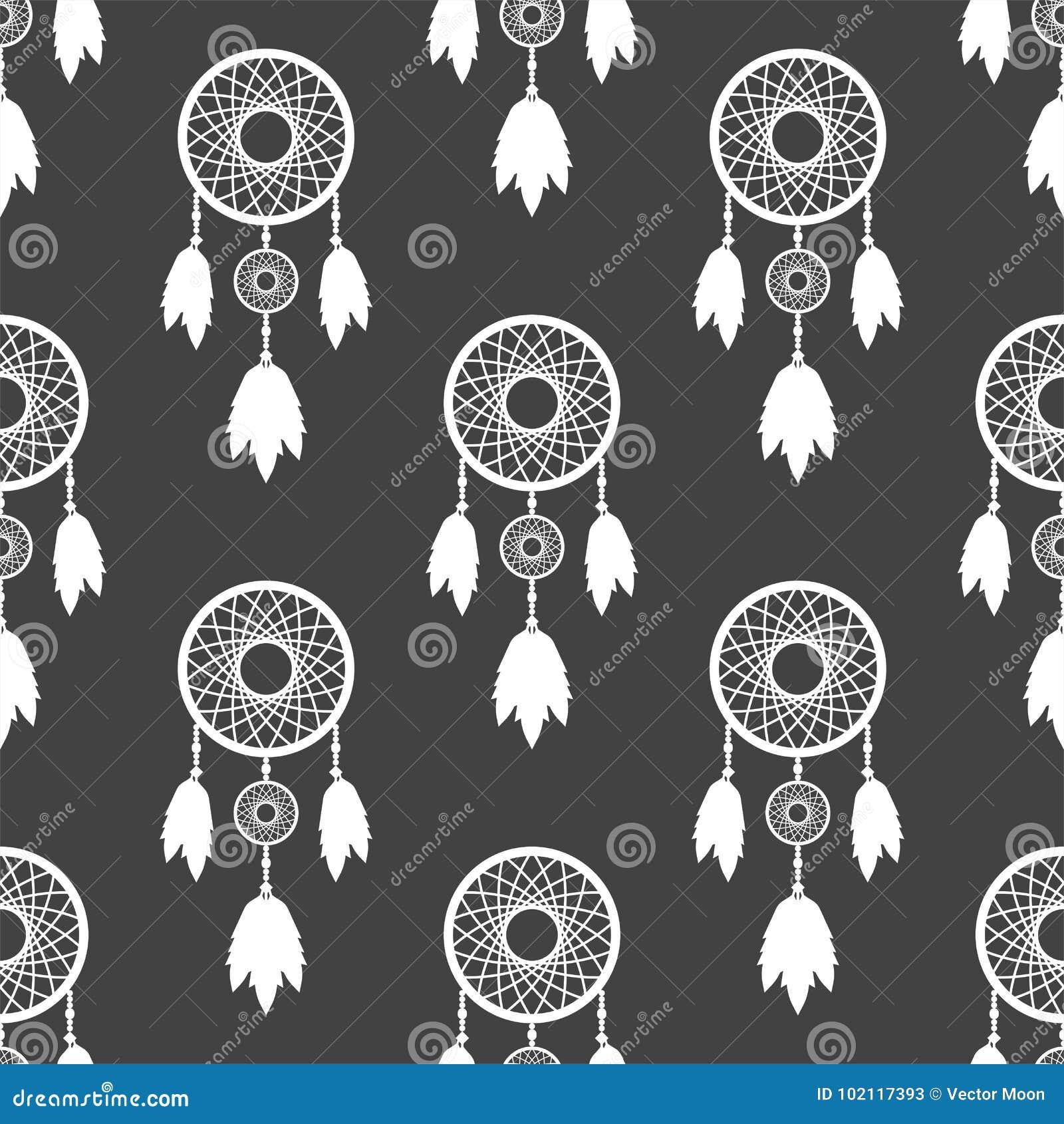 Illustration för vektor för design för stam- för dreamcatcherboho för garnering bohemisk för fjädrar infödd sömlös dröm för model