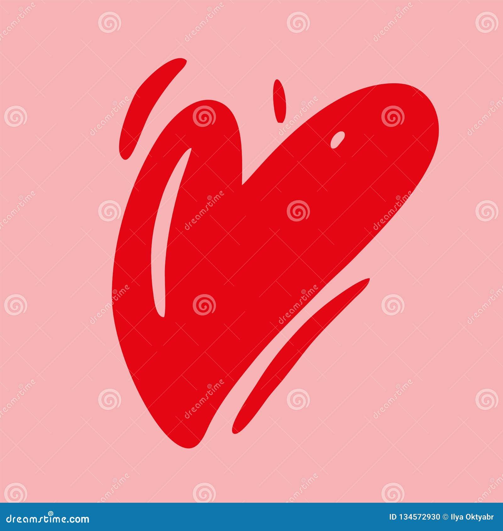 Illustration för vektor för förälskelsehjärtahand utdragen lyckliga valentiner för kortdag isolerat