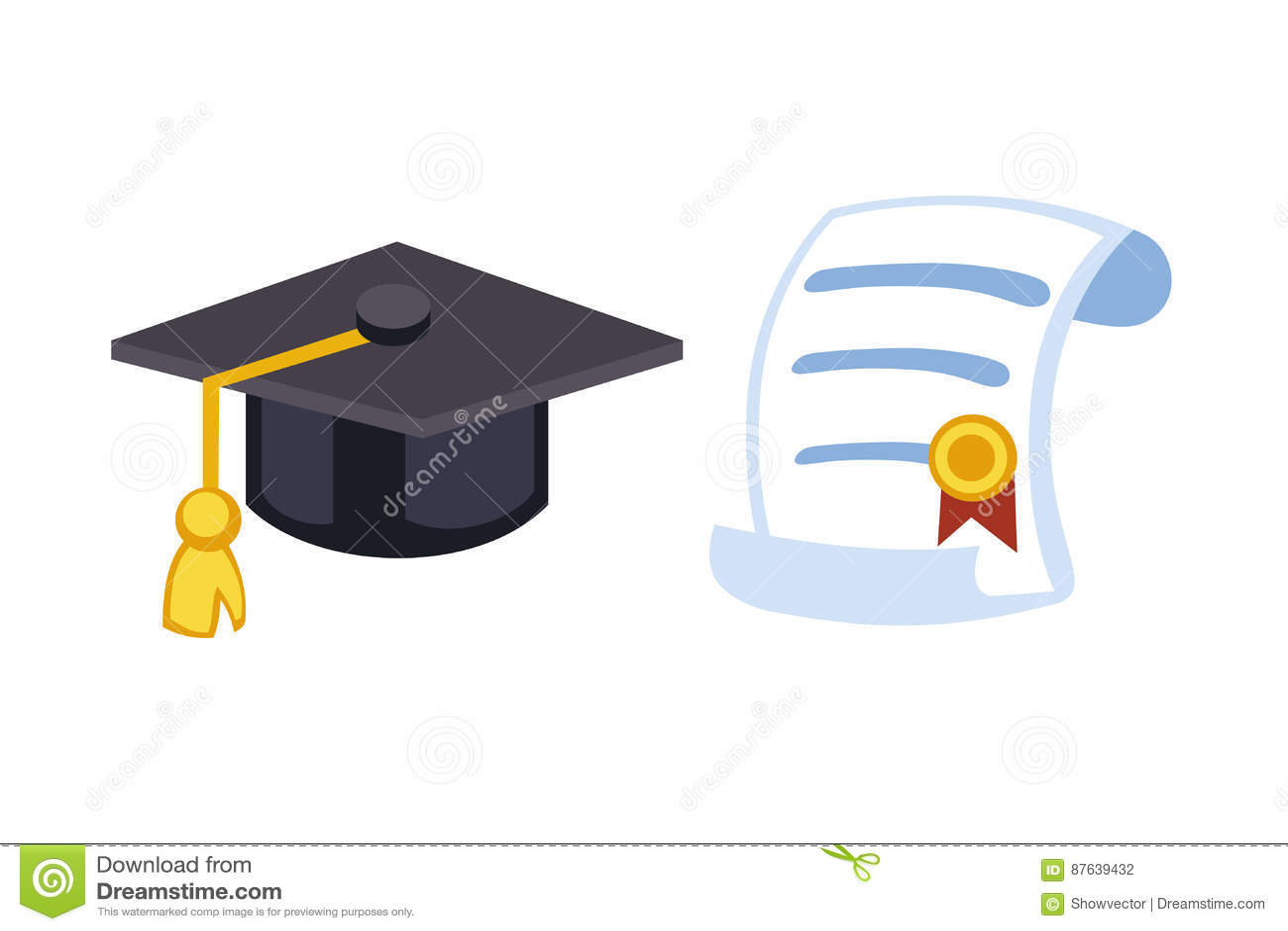Illustration för vektor för beröm för symbol för hatt för avläggande av examenlockdiplom Symbol för ceremoni för universitetskola