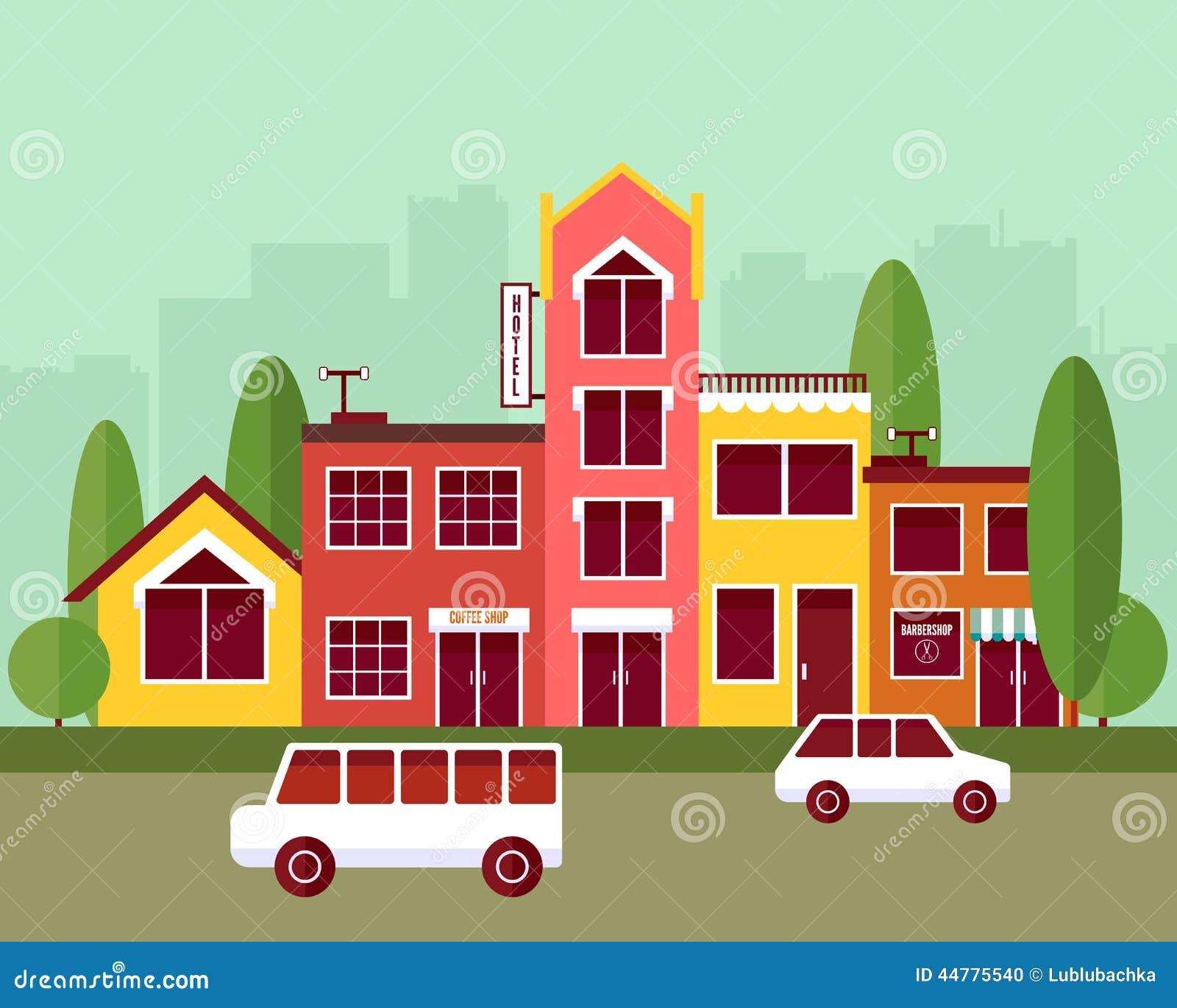 Illustration för vektor för design för stadsgatalägenhet