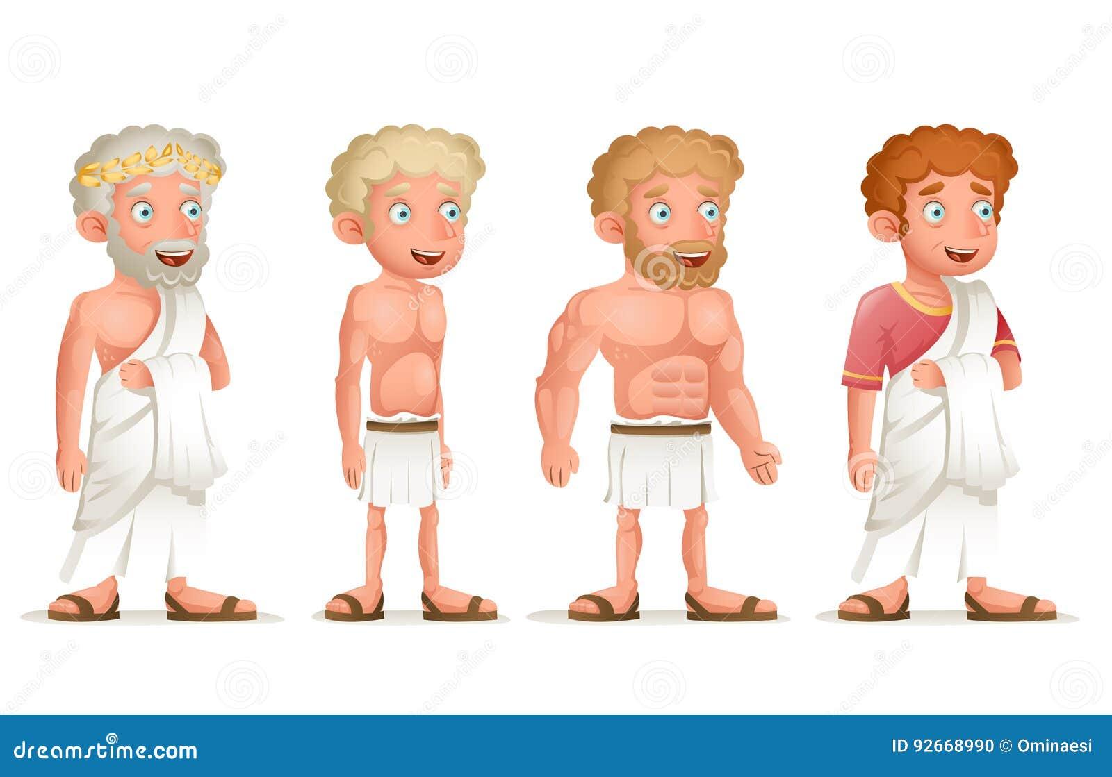 Illustration för vektor för design för tecknad film för uppsättning för symbol för tecken för Roman Greek Retro Vintage Old ung t