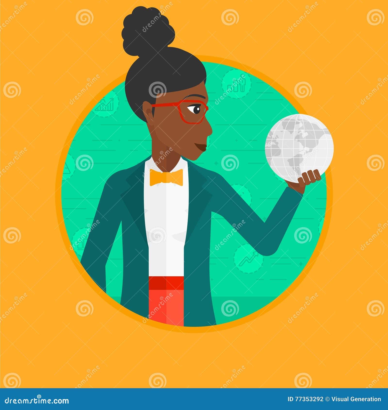 Illustration för vektor för jordklot för affärskvinna hållande