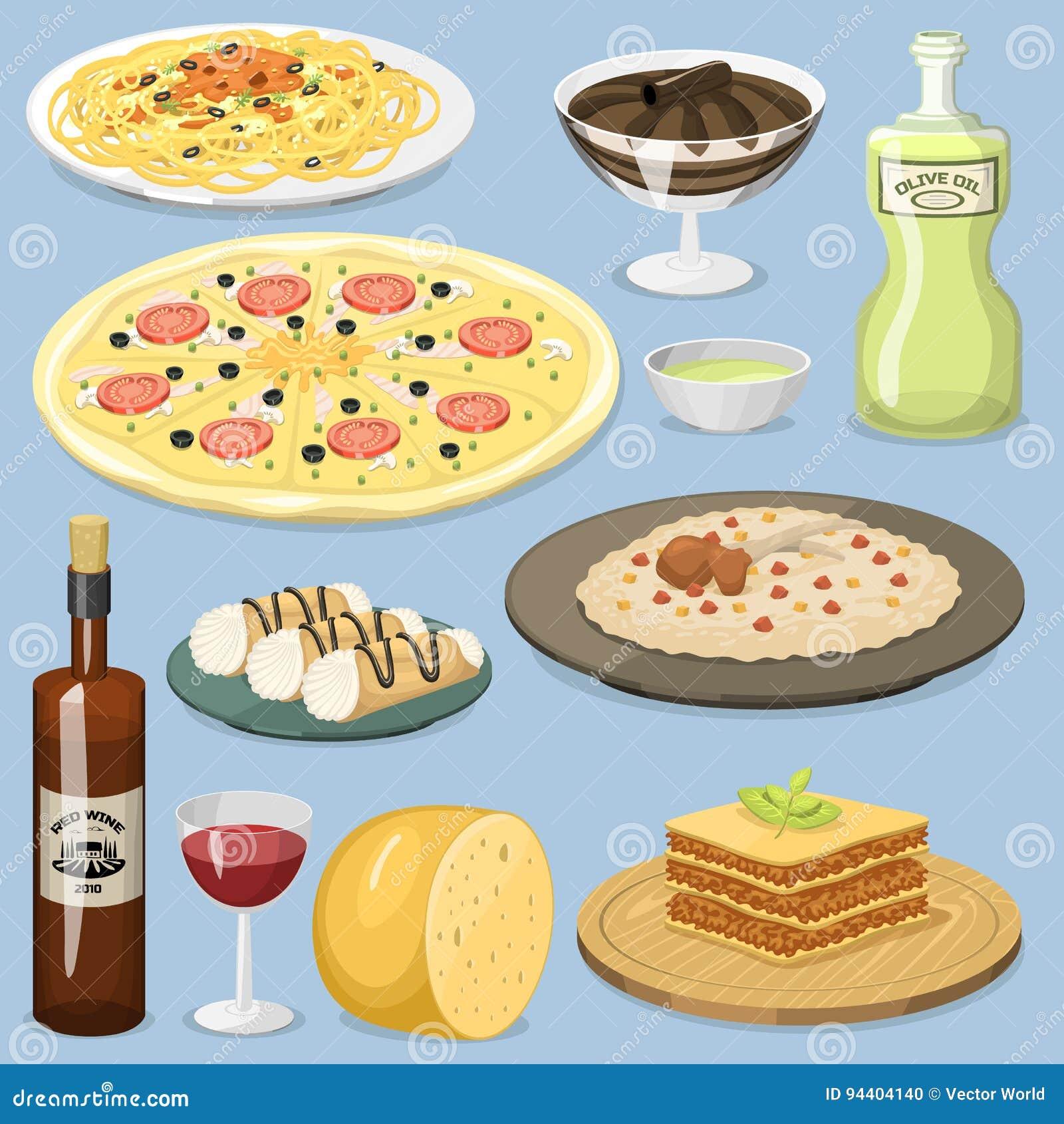 Illustration för vektor för lunch för hemlagad matlagning för kokkonst för tecknad filmItalien mat ny traditionell italiensk