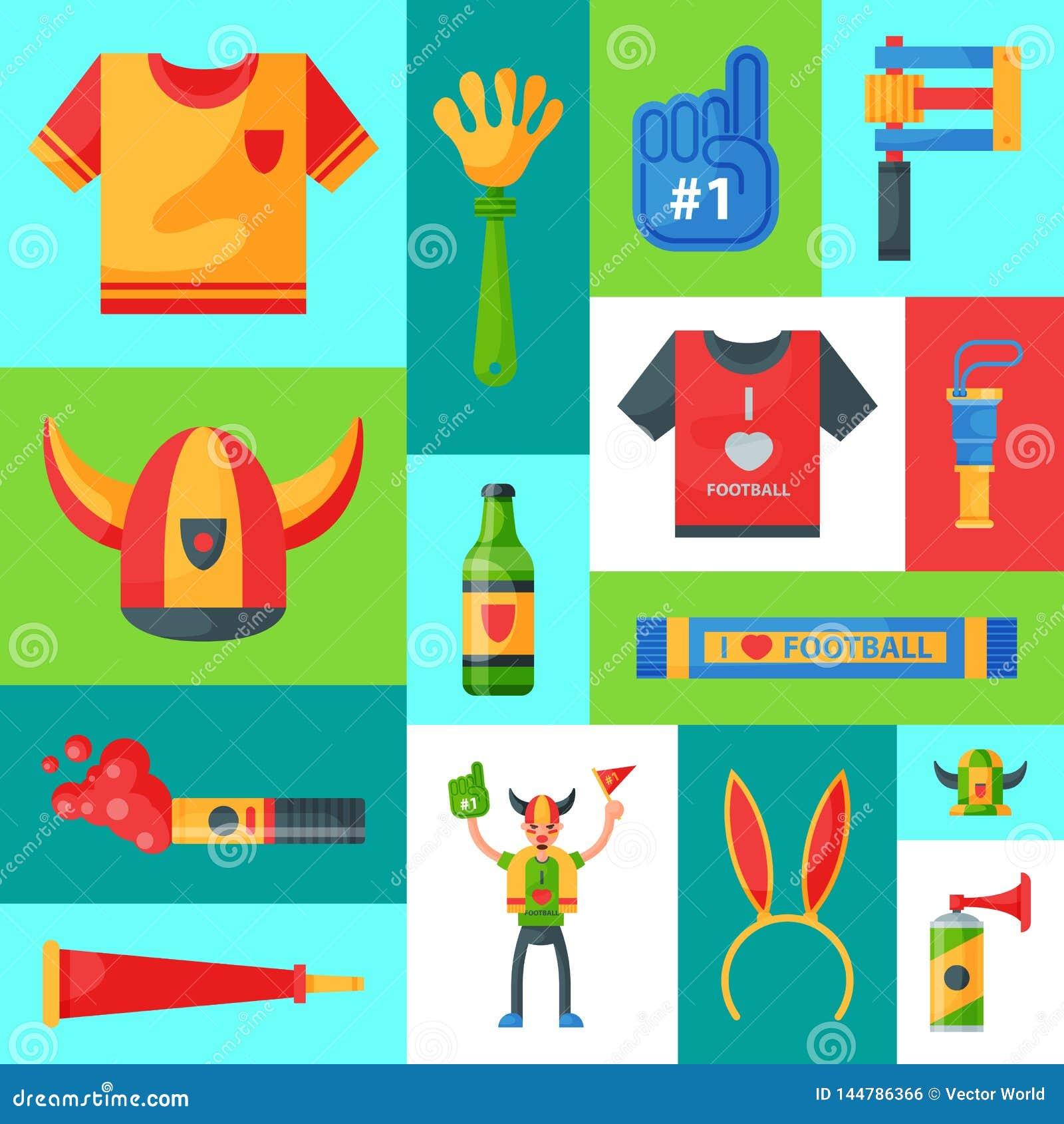 Illustration för vektor för fotbollslagsupporterbaner Attribut för fotbollsportfan, tillbehör för anhängarefantastman och t