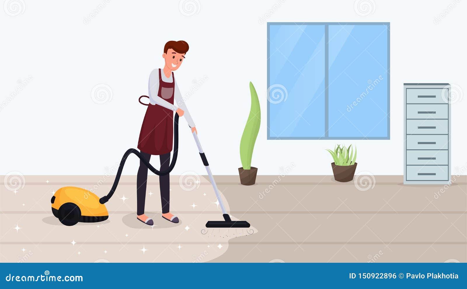 Illustration för vektor för golv för man hoovering plan Rengörande matta för make, genom att använda dammsugare som gör hushållsa