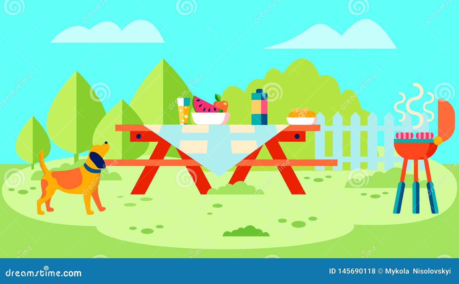 Illustration för vektor för grillfestträdgårdparti plan