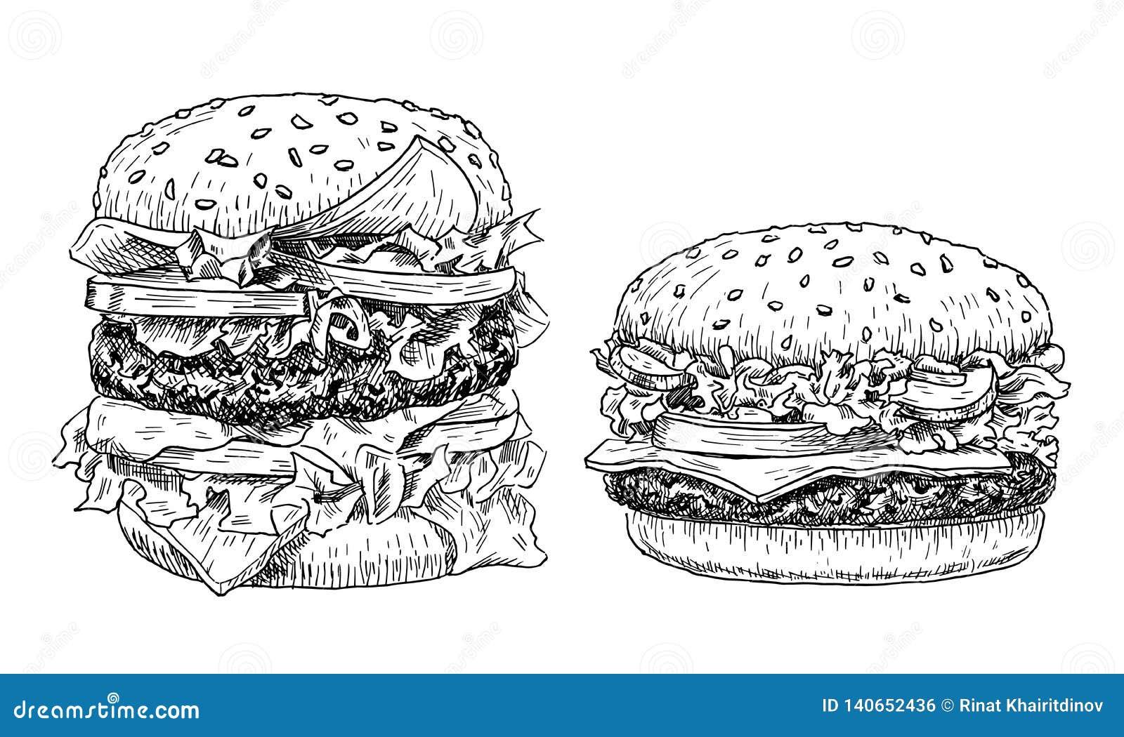 Illustration för vektor för hamburgare- och ostburgarehand utdragen Snabbmat inristad stil Hamburgare skissar isolerat på vit