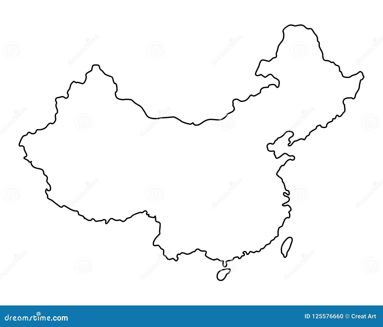 Illustration för vektor för Kina översiktsöversikt
