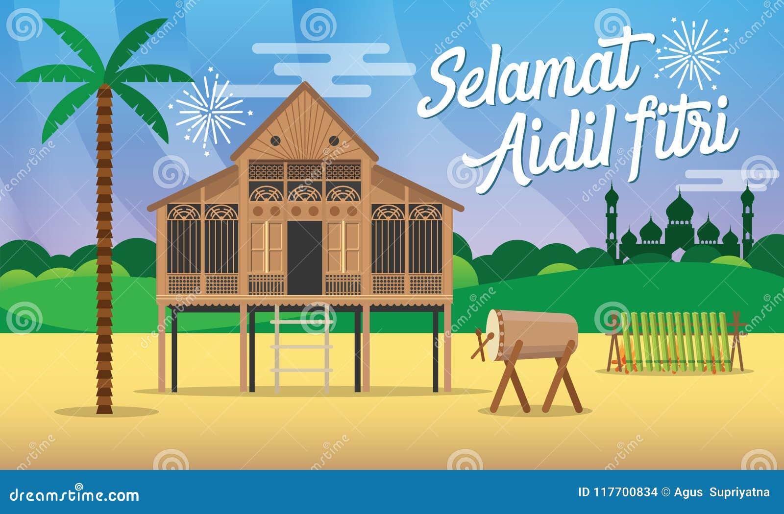 Illustration för vektor för kort för hälsning för fitri för aidil för Selamat hariraya med det traditionella malaybyhuset/Kampung