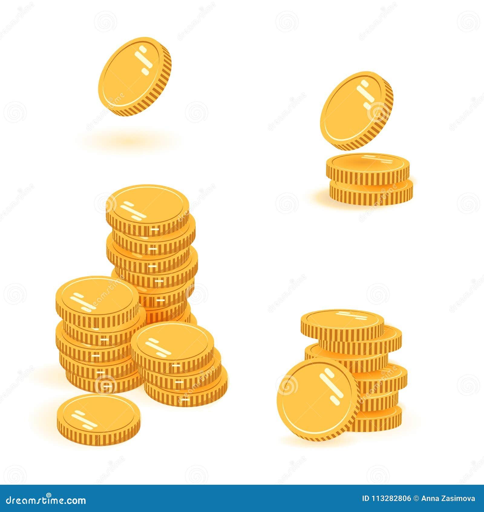 Illustration för vektor för myntbuntuppsättning, hög för symbolslägenhetfinans, dollarmynthög Guld- pengaranseende på staplad gul