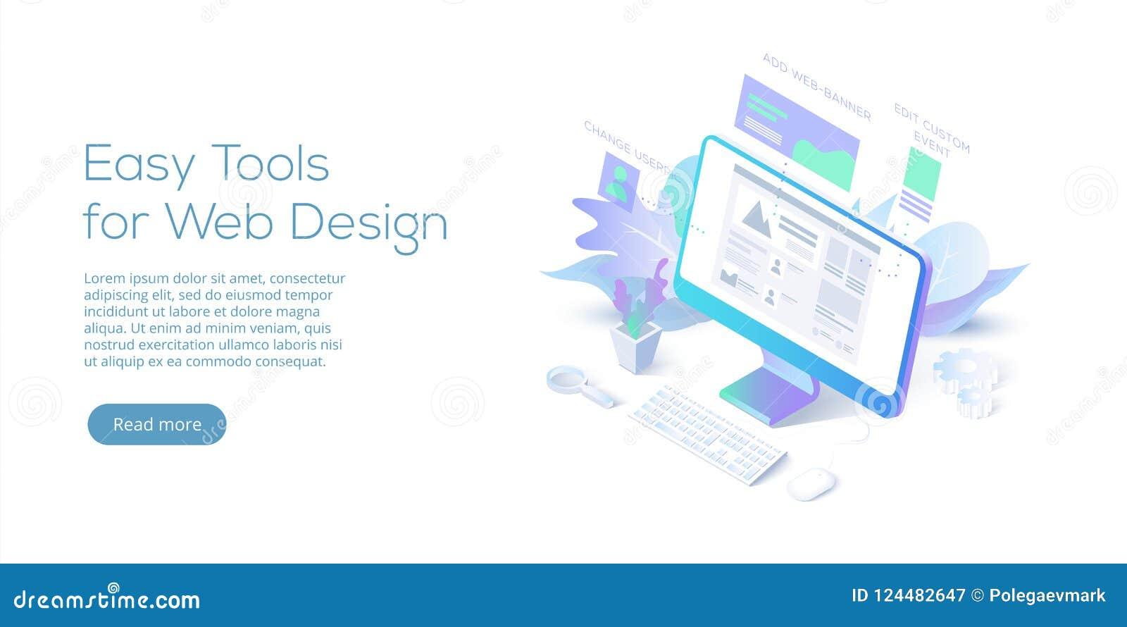 Illustration för vektor för rengöringsdukdesign begreppsmässig isometrisk Website int