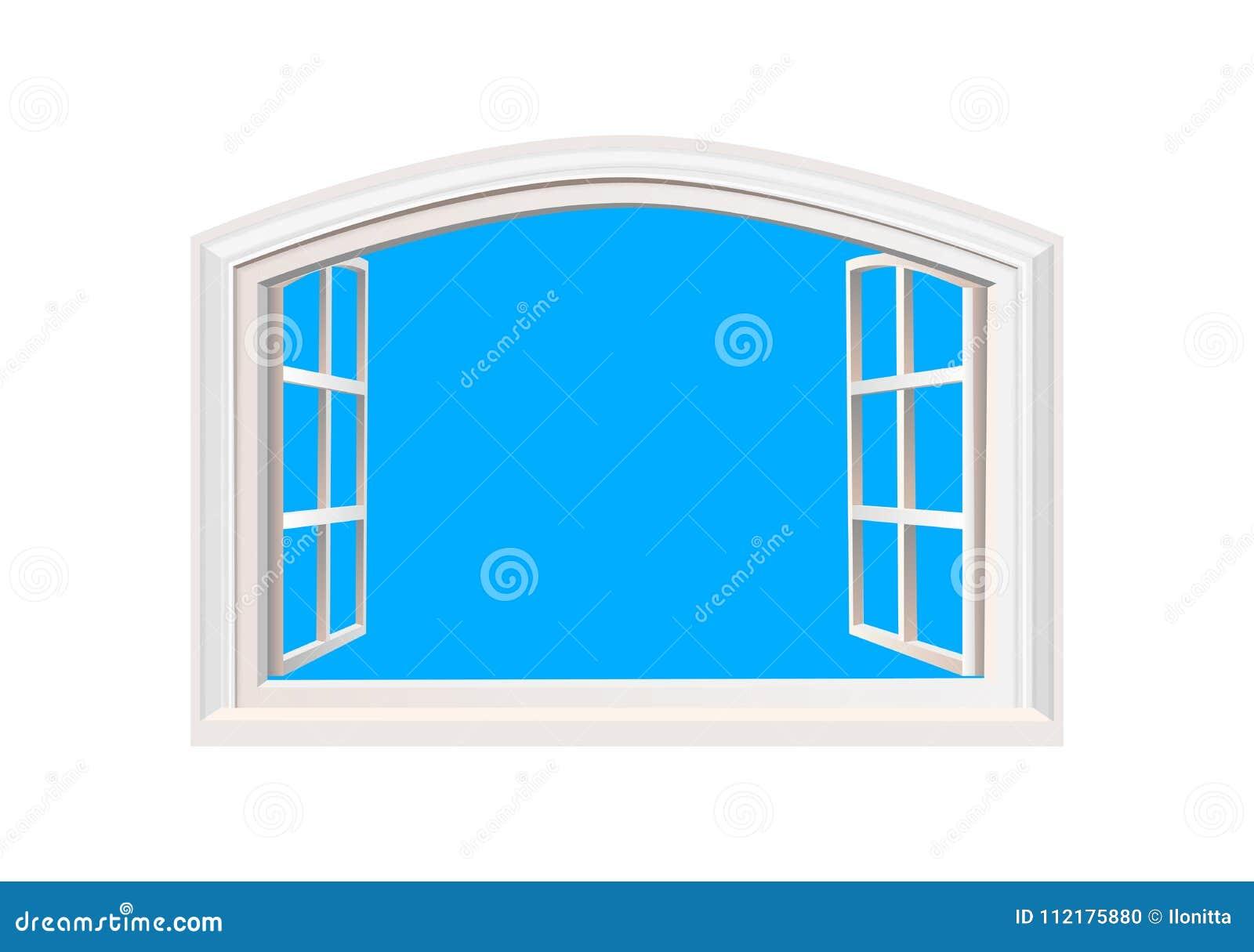 Illustration för vektor för sikt för ljus för sol för blå himmel för öppet fönster realistisk Isolerat vitdubblettsidohängt fönst