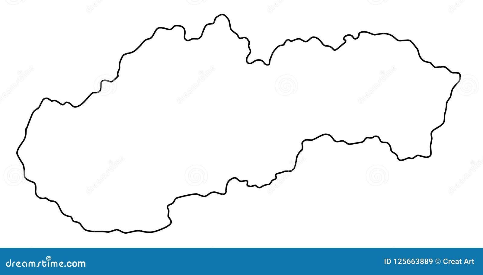 Illustration för vektor för Slovakien översiktsöversikt