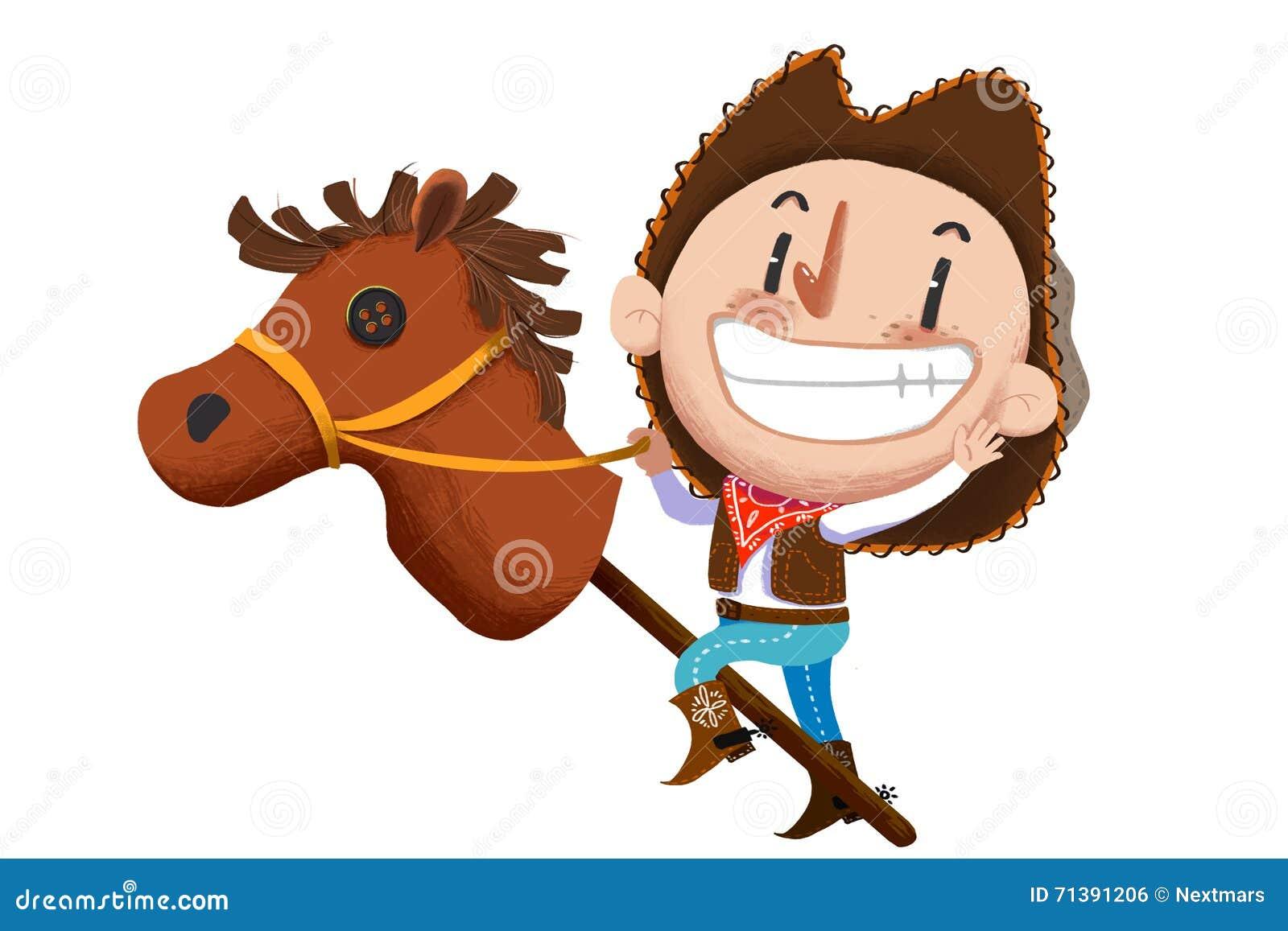 illustration f r kinder das kuh jungen spiel mit angef lltem pferdespielzeug stock abbildung. Black Bedroom Furniture Sets. Home Design Ideas