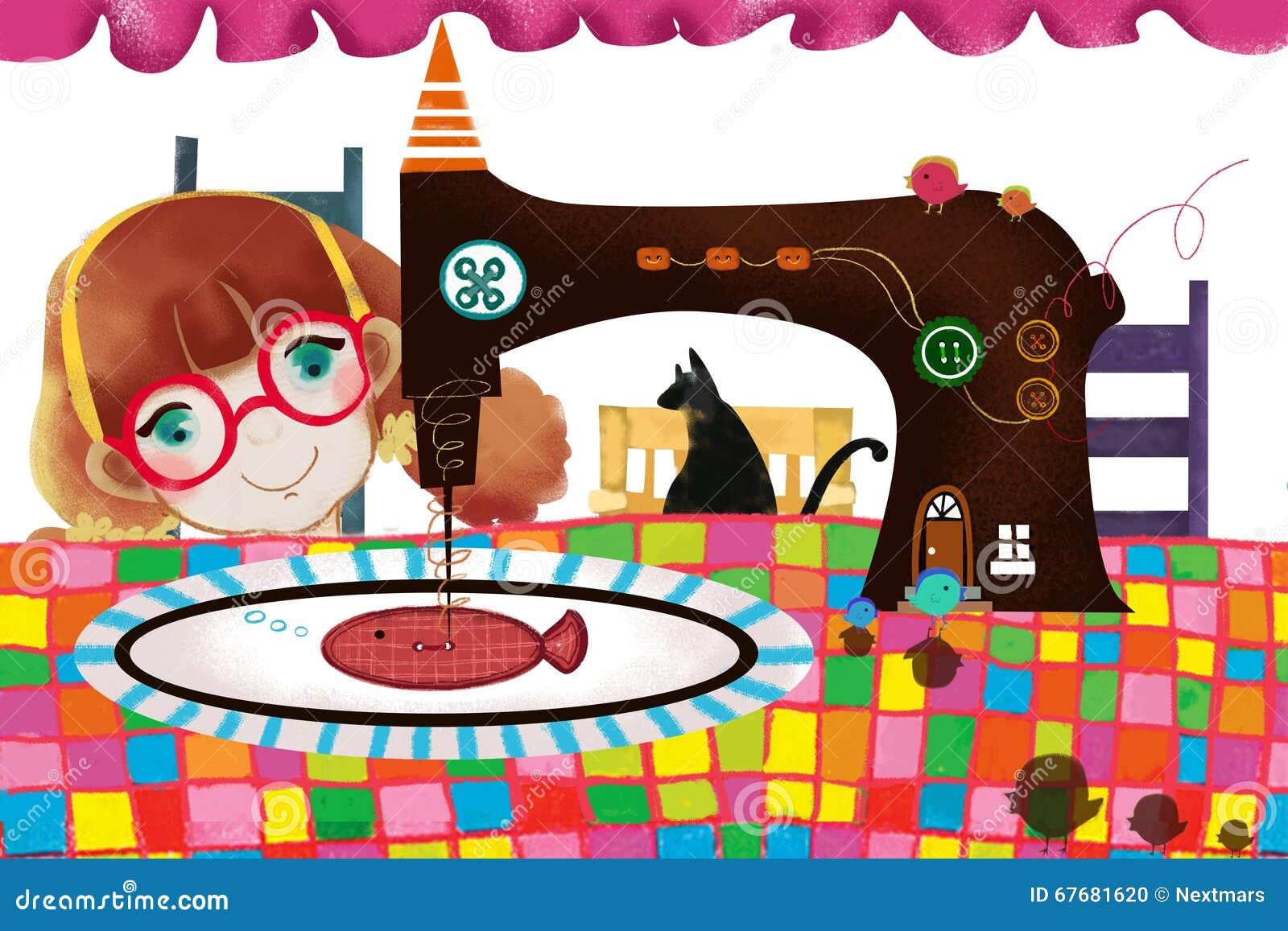 Illustration Für Kinder: Nähmaschine-Mädchen Stock Abbildung ...