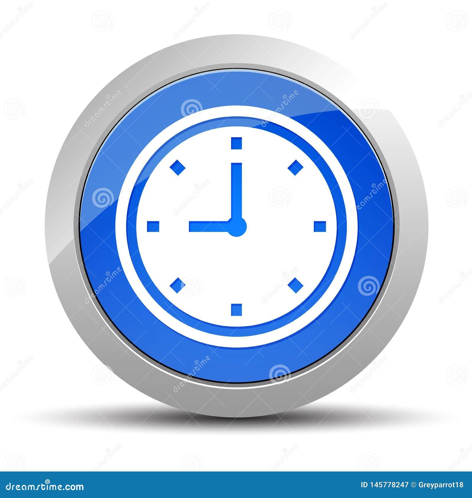 Illustration f?r knapp f?r klockasymbol bl? rund