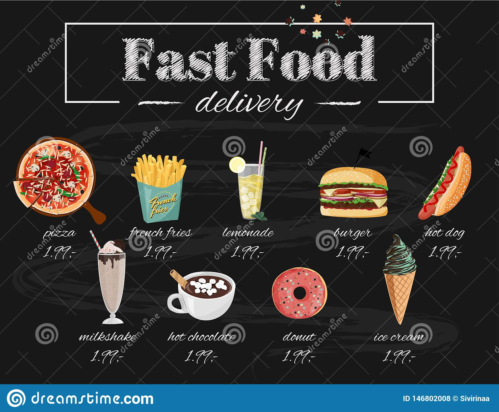 Illustration f?r snabbmatkaf?meny St?ll in av utdragna vektorm?l f?r hand Pizza varmkorv, hamburgare, milkshake, varm choklad