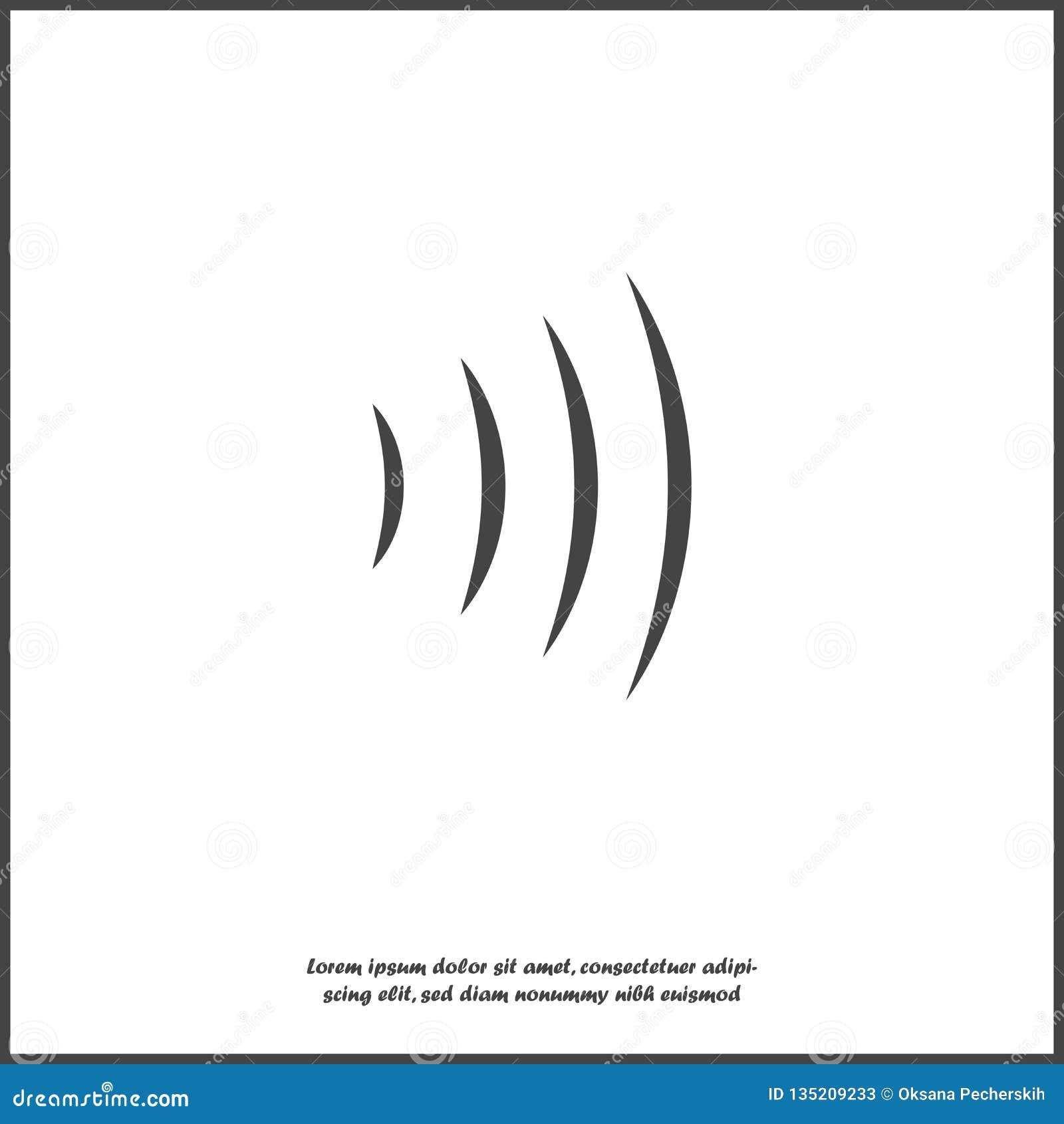 Illustration f?r vektor f?r solid v?g Utstr?lning f?r radiov?g Anslutning för Wi Fi på vit isolerad bakgrund