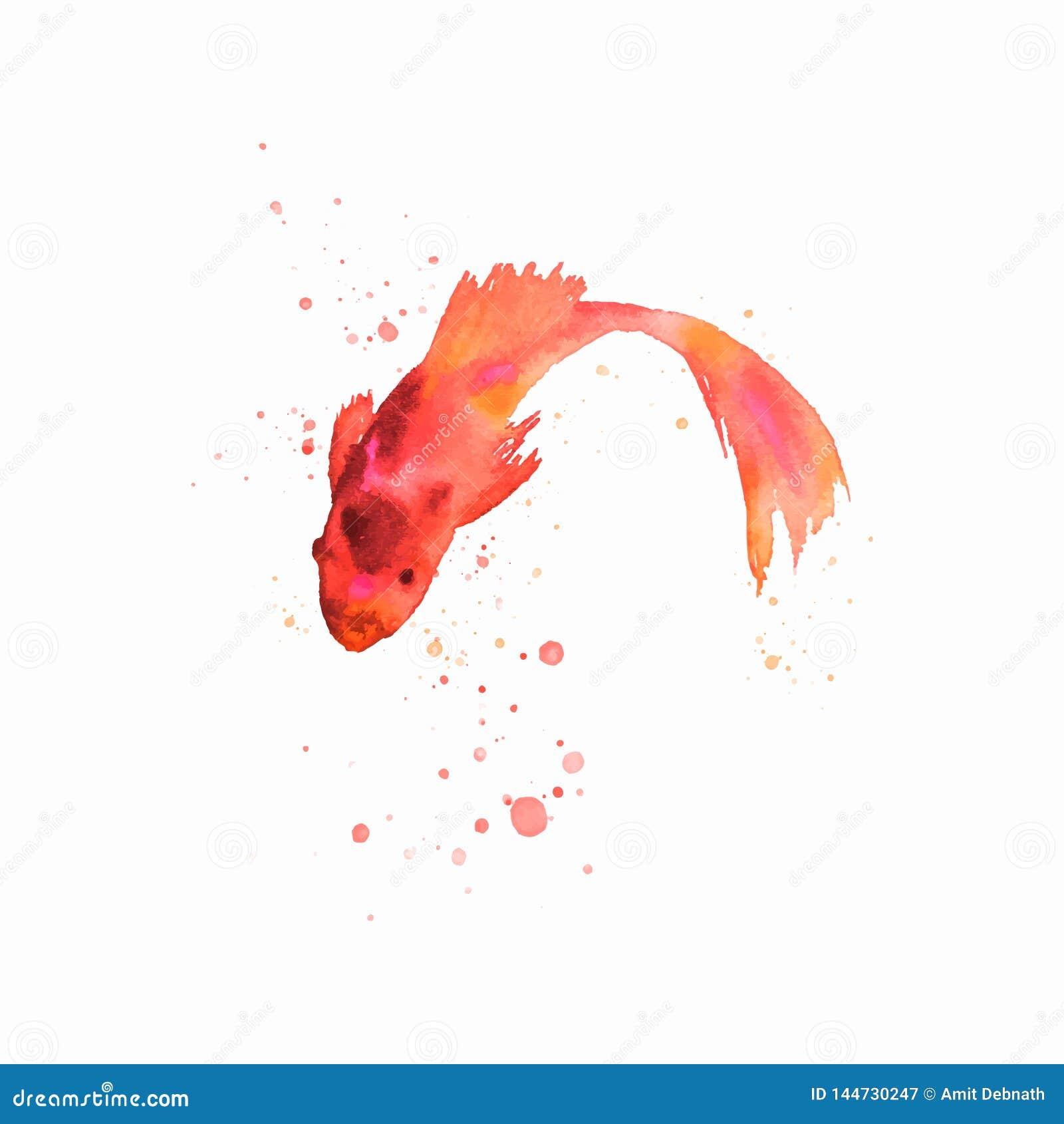 Illustration faite main de vecteur d oeuvre d art de poissons d aquarelle