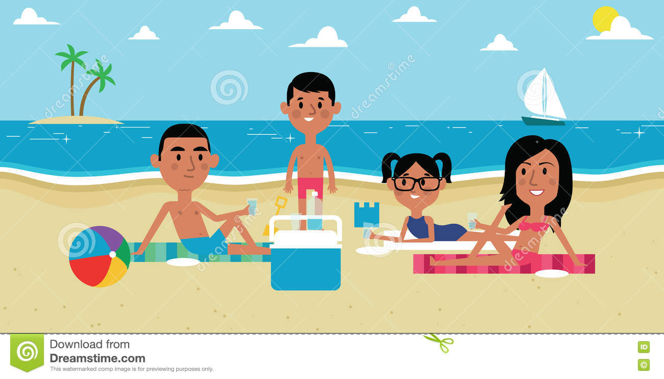 Illustration Of Family Enjoying Picnic On Beach Together Stock
