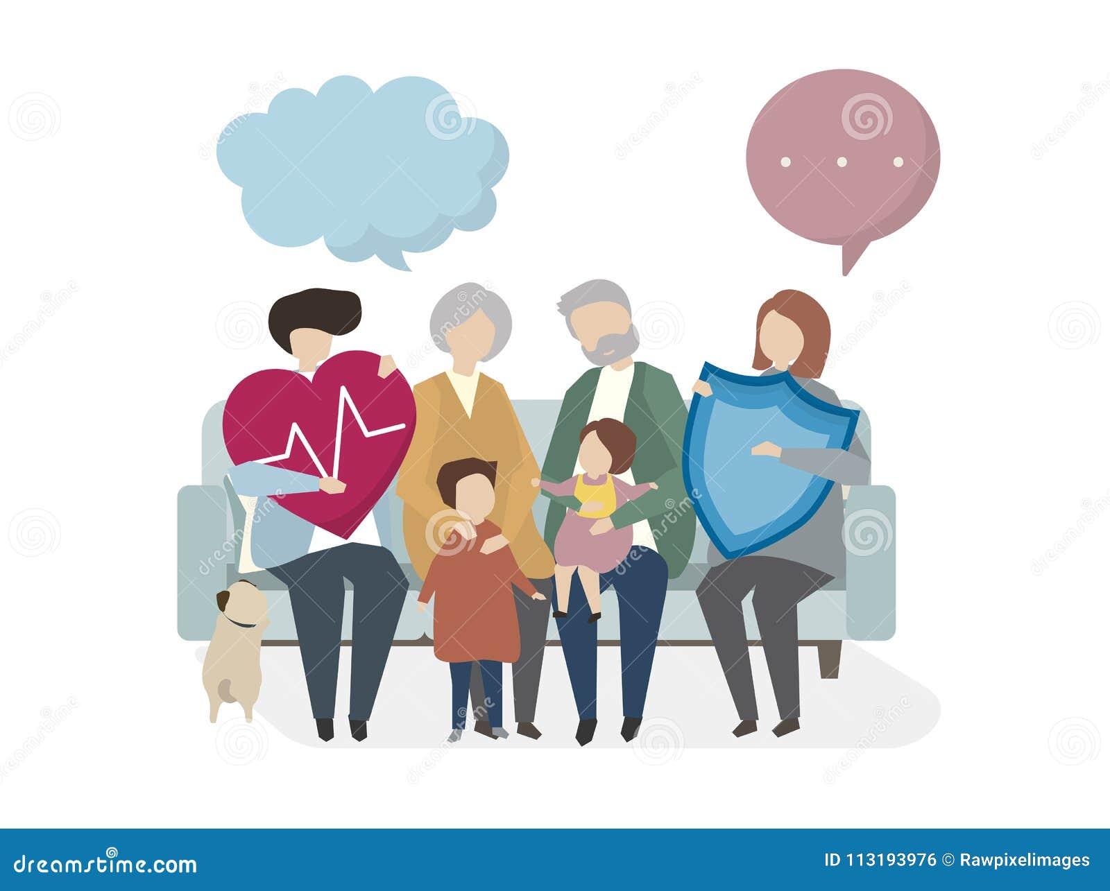 Illustration Of Family Life Insurance Stock Illustration