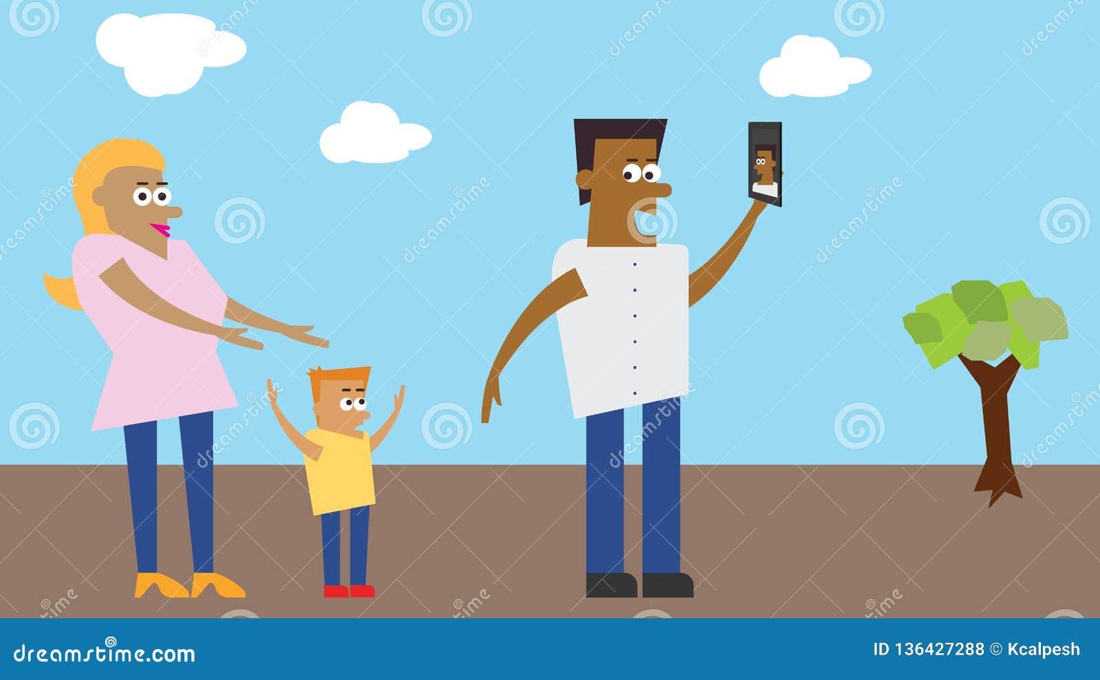 Illustration - Family taking selfie in a park