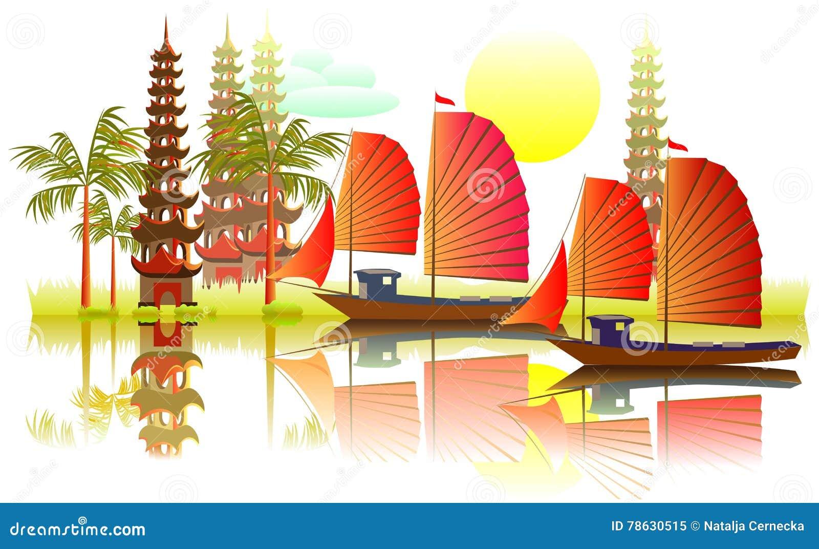 illustration of fantasy asian landscape stock vector illustration